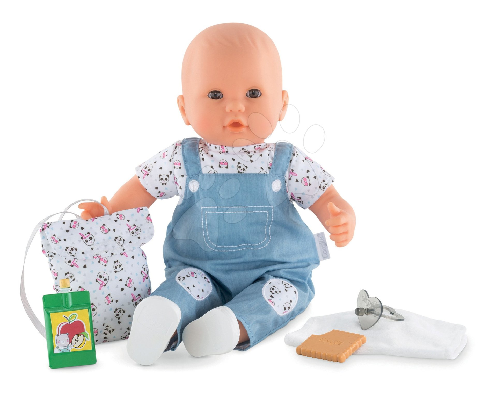 Dojenček Gaby gre v vrtec Mon Grand Poupon Corolle 36 cm z rjavimi mežikajočimi očkami in 5 dodatki od 24 mes