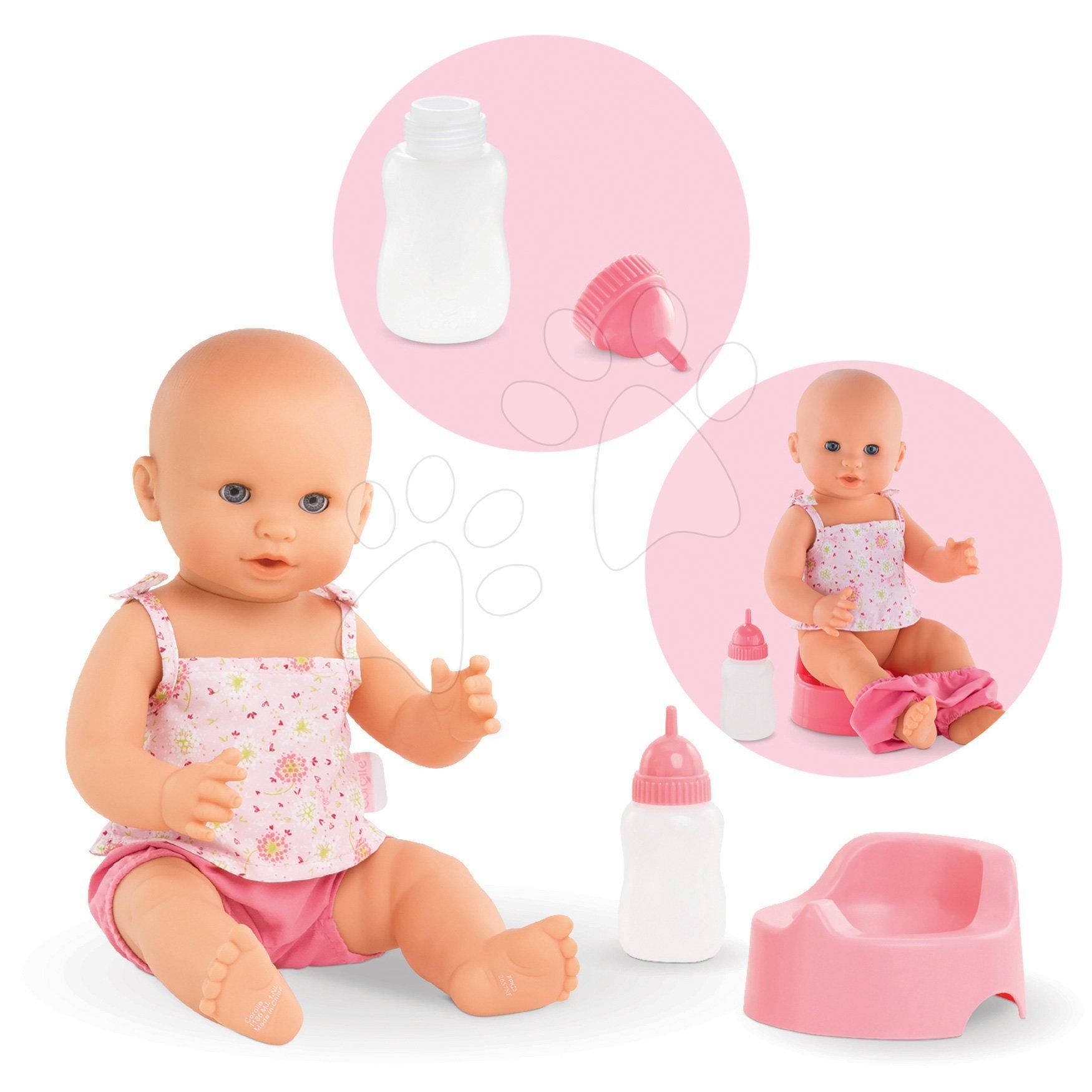 Dojenček Emma pije in lula Mon Grand Poupon Corolle 36 cm z modrimi mežikajočimi očkami in 2 dodatkoma od 24 mes