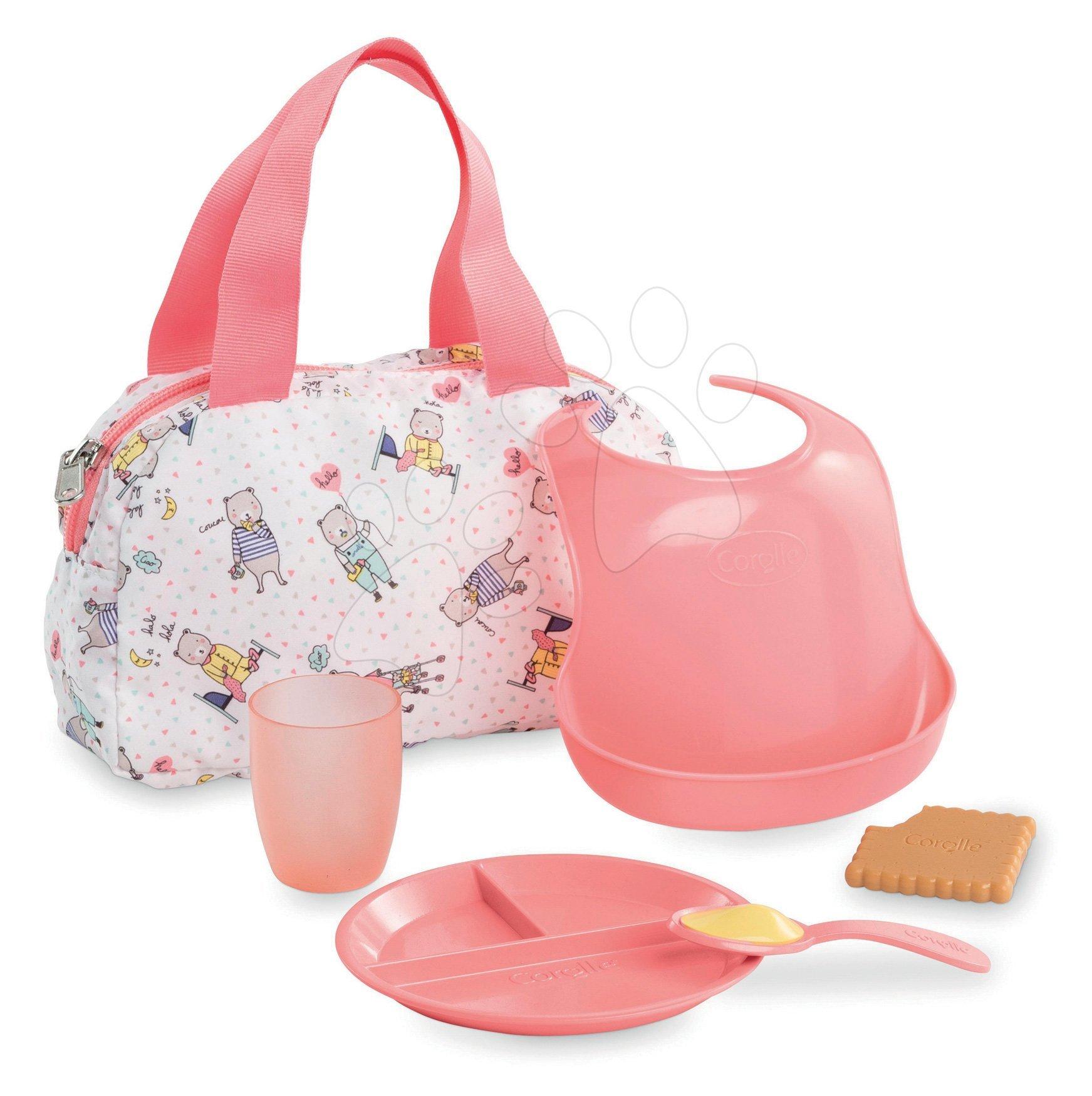 Taška s podbradníkom a obedom Mealtime set Mon Grand Poupon Corolle pre 36-42 cm bábiku od 24 mes