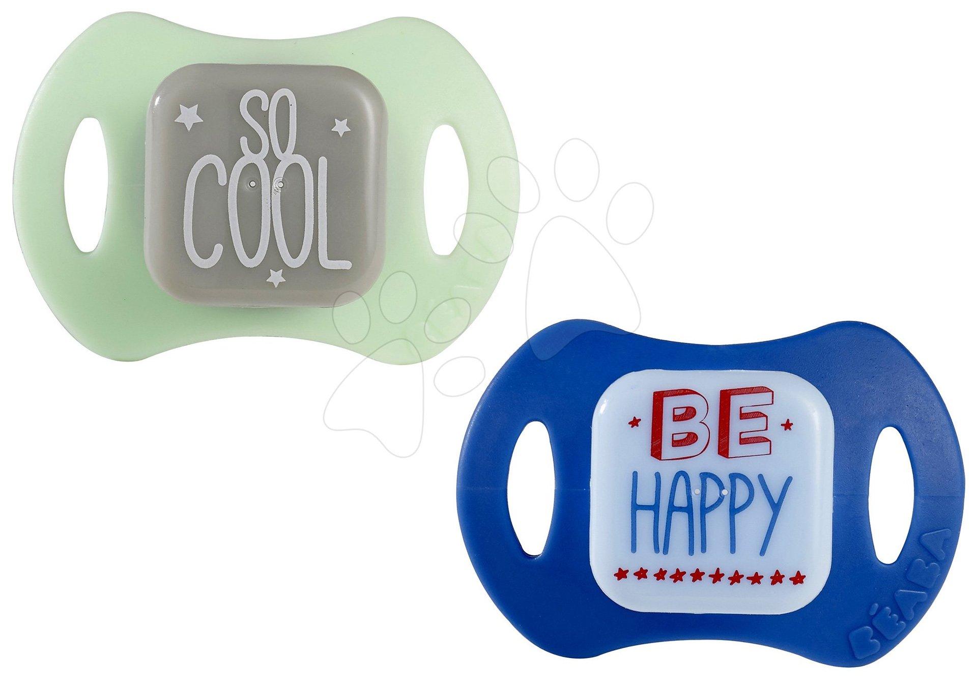 Sada 2 ergonomických dudlíků Beaba se silikonem modro-zelené