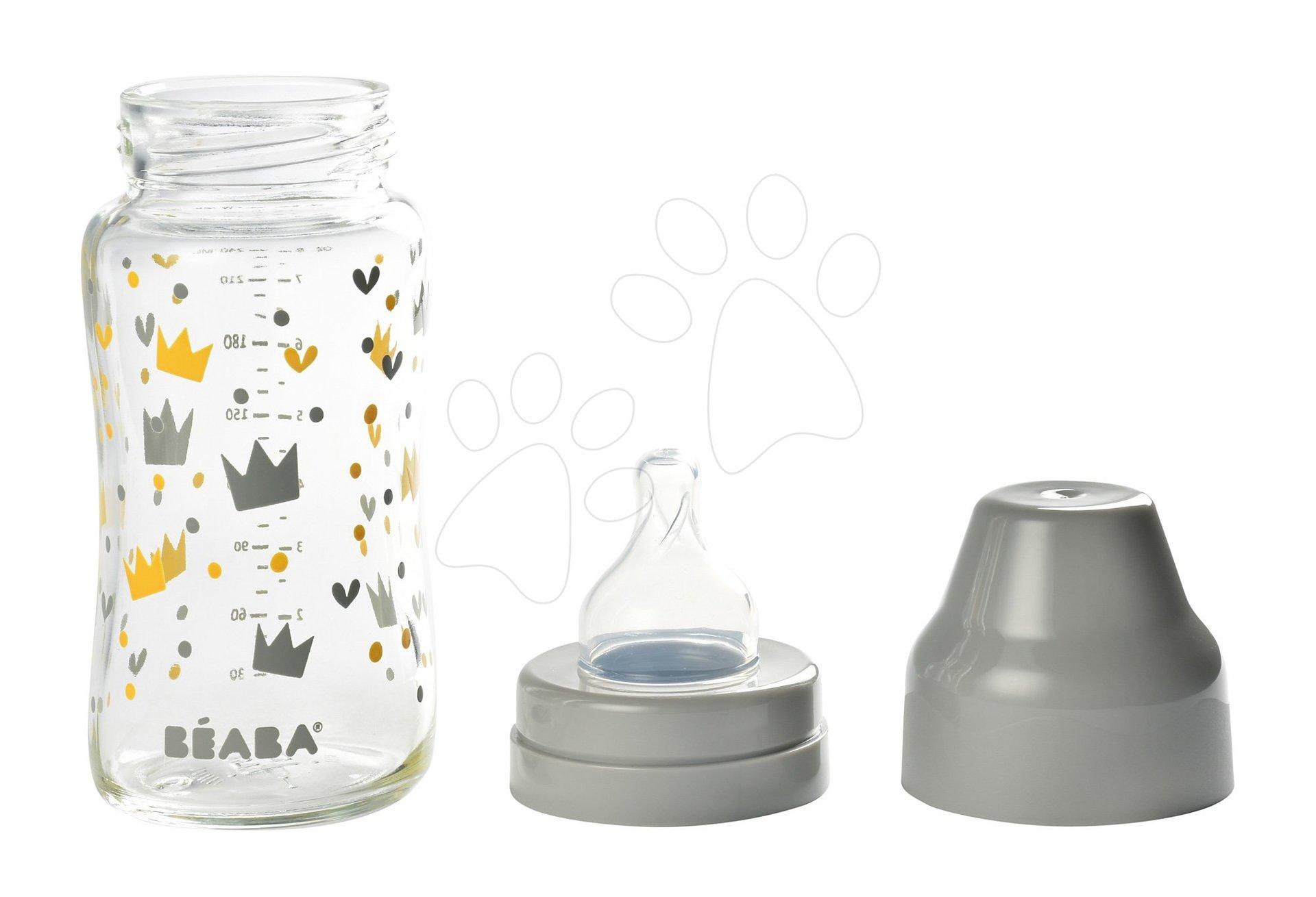 Beaba dojčenská sklenená fľaša Crown 240 ml so širokým hrdlom 911653 šedá