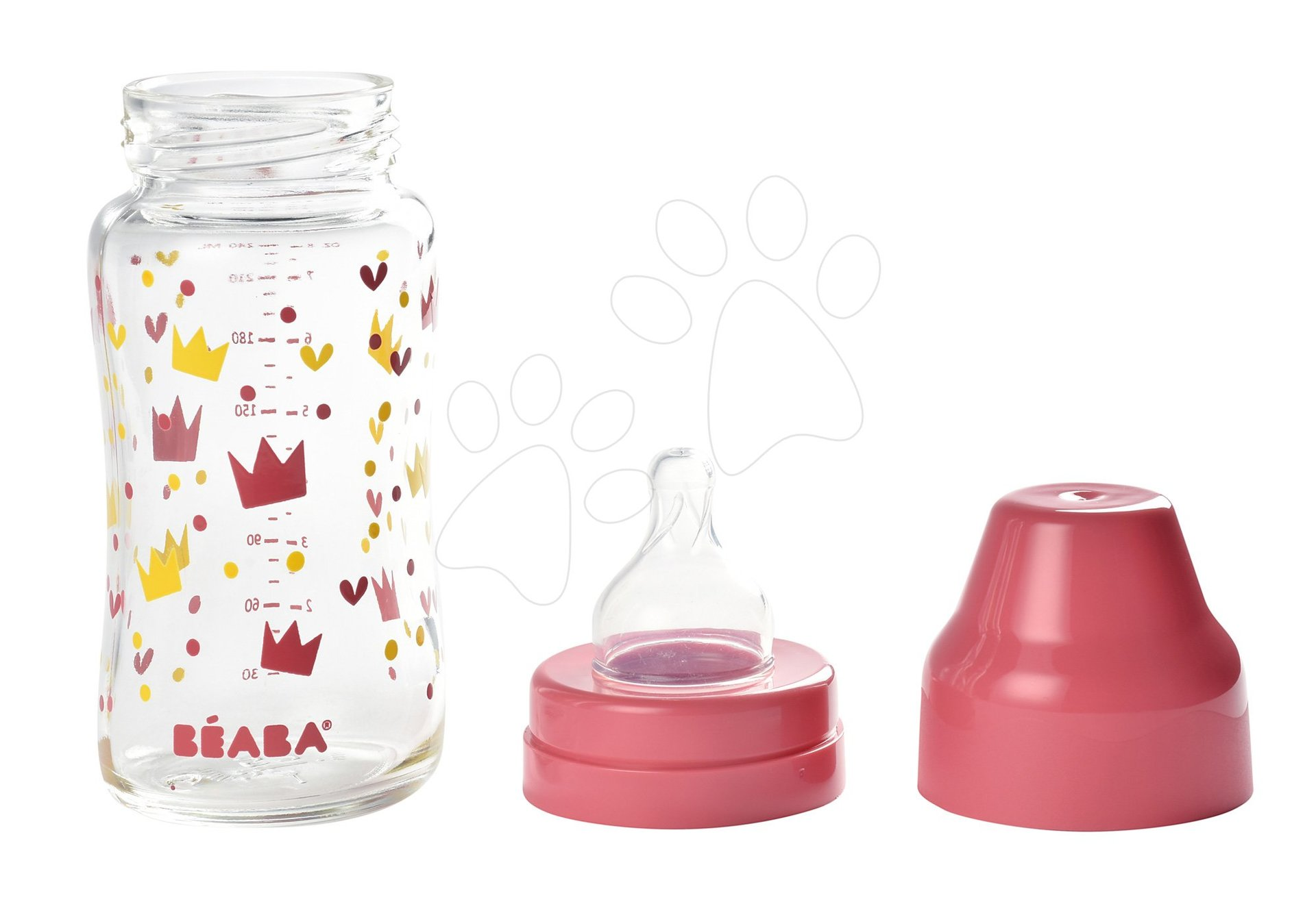 Beaba dojčenská sklenená fľaša Crown 240 ml so širokým hrdlom 911654 ružová