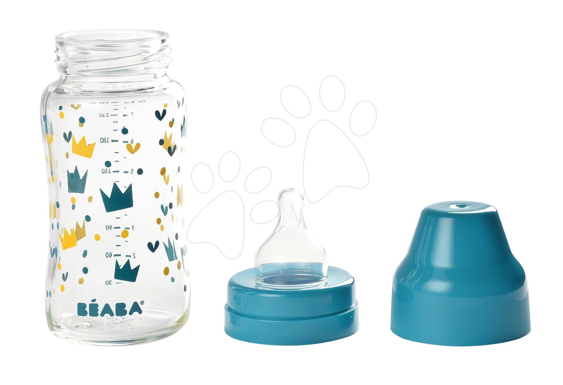 Beaba dojčenská sklenená fľaša Crown so širokým hrdlom 240 ml 911655 modrá