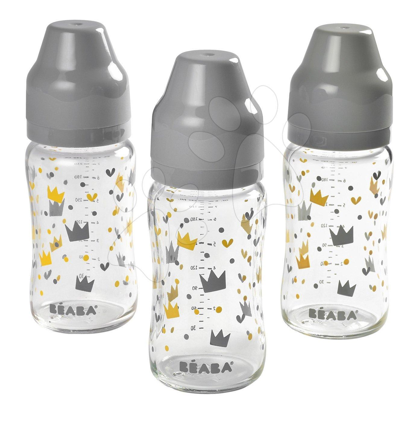 Beaba sada 3 dojčenských fliaš so širokým hrdlom 911656 šedá