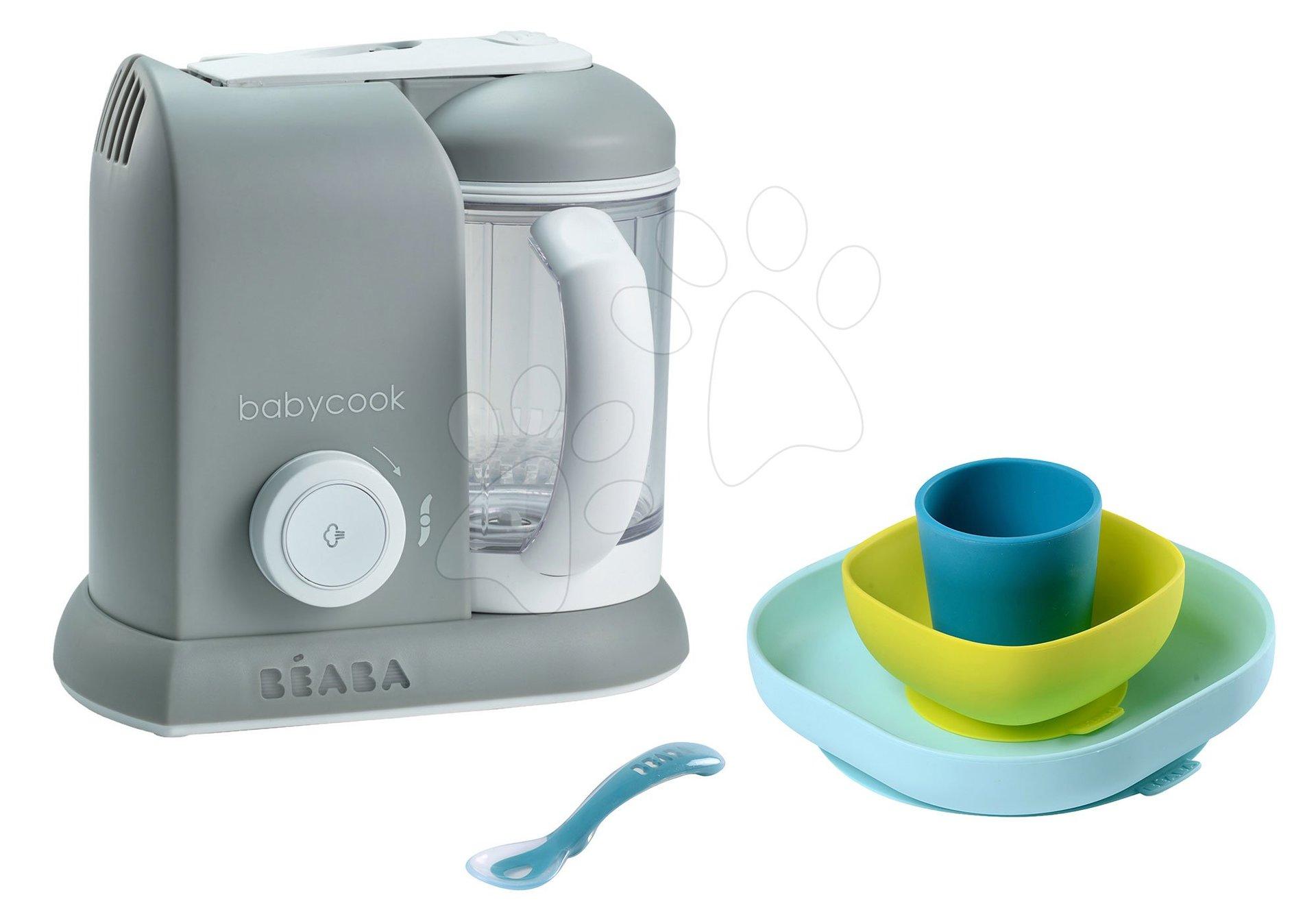 Set parný varič a mixér Beaba Babycook® Solo šedý + darček jedálenská súprava Silicone meal 4-dielna od 0 mesiacov