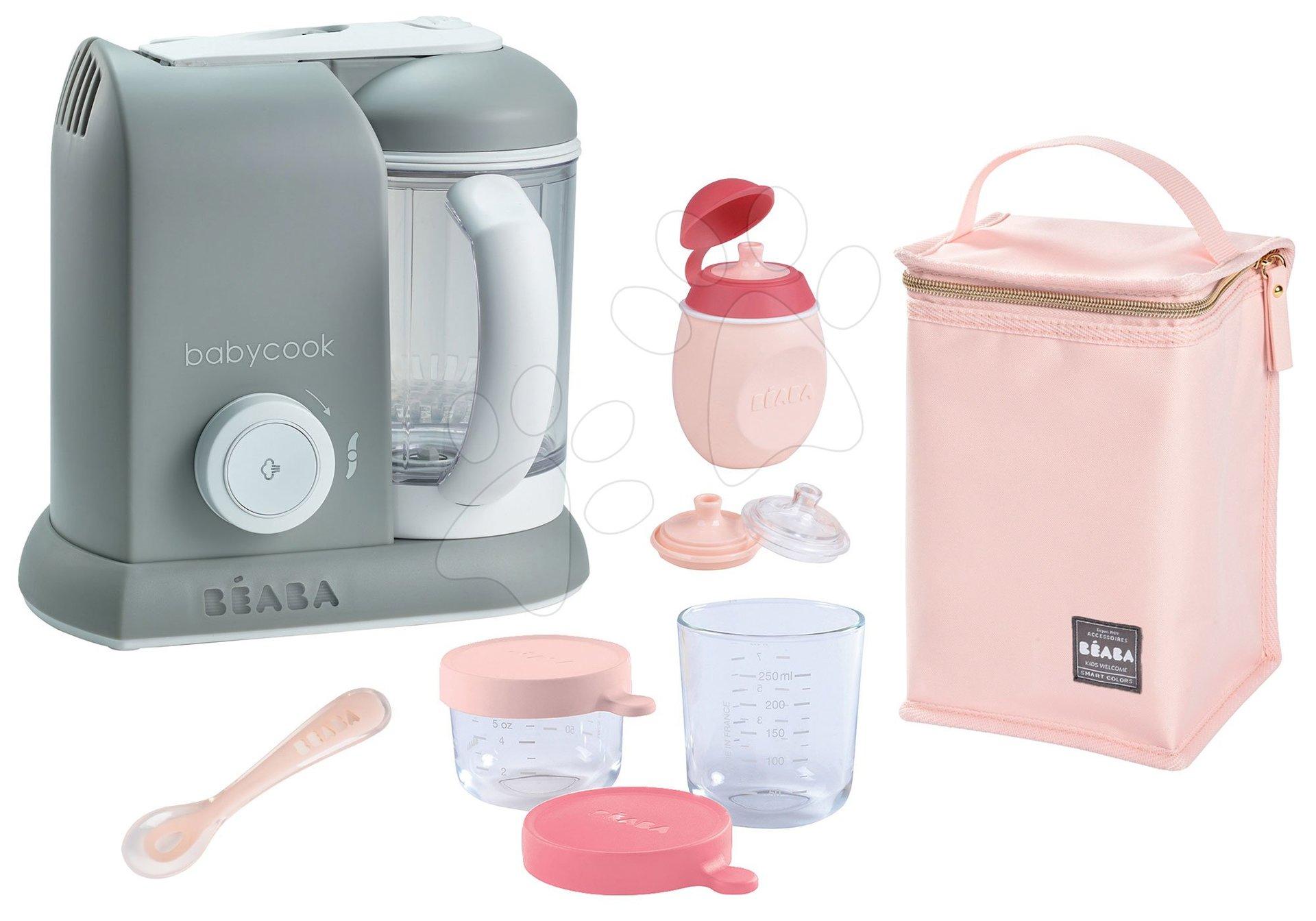 Set parný varič a mixér Beaba Babycook® Solo šedý + darček 2 dózy, fľaštička s uzáverom, lyžička a izotermický obal od 0 mesiacov