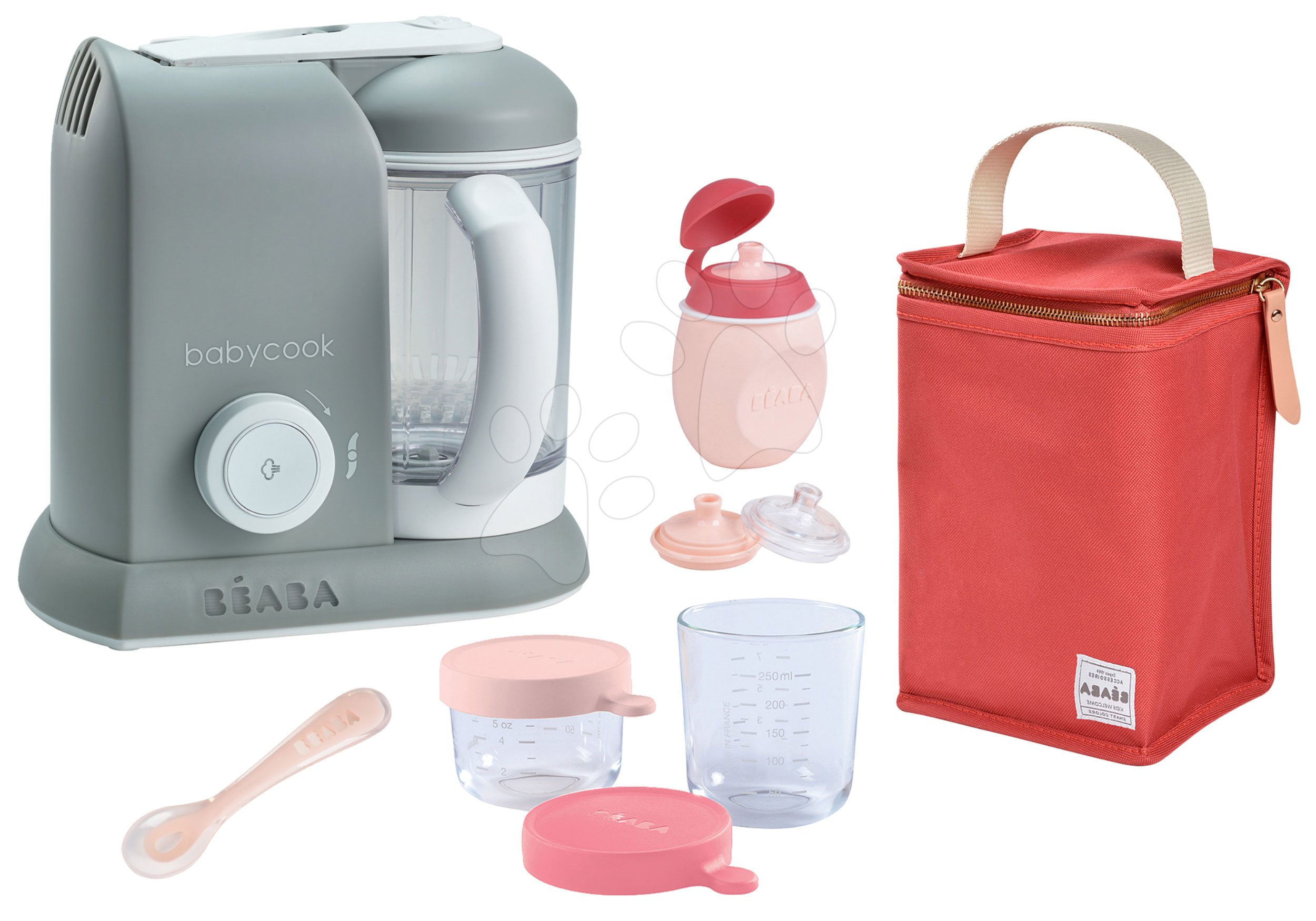 Set aparat de gătit cu aburi si mixer Beaba Babycook® Solo gri + cadou 2 recipiente pentru stocarea mâncării, sticlă cu capac şi linguriţă şi suport thermo