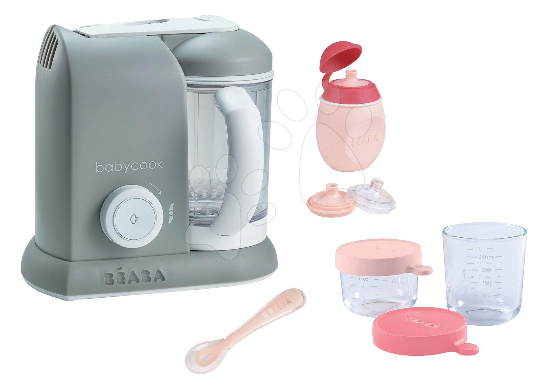 Set parný varič a mixér Beaba Babycook® Solo šedý + darček 2 dózy, fľaštička s uzáverom a lyžička od 0 mesiacov