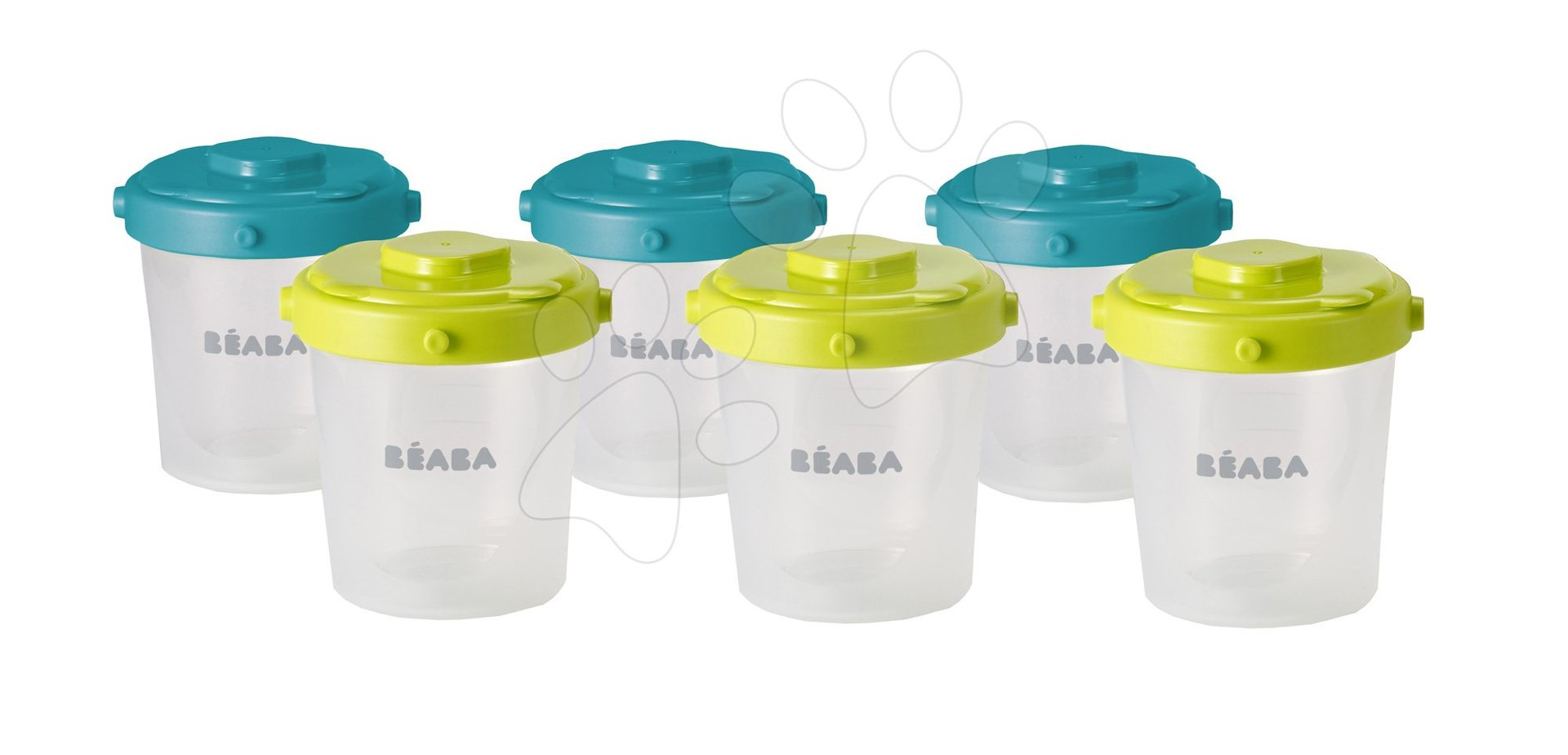 Beaba sada 6 dóz na jedlo 6 clip 200 ml 912482 modrá a neón