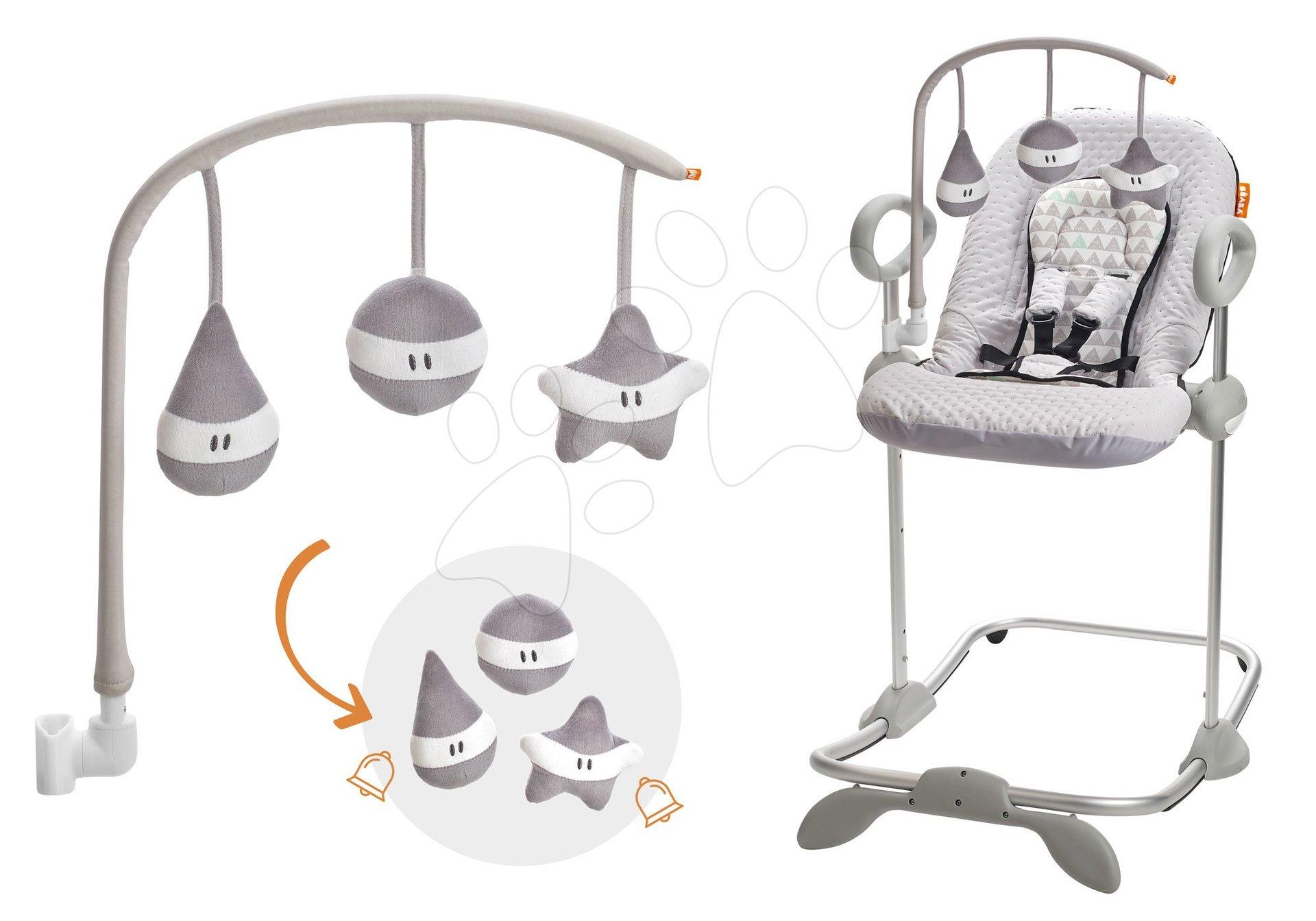 Set detské polohovateľné lehátko Up & Down II Beaba šedé od 0 mesiacov a kolotoč nad lehátko Beaba Play šedé ako darček