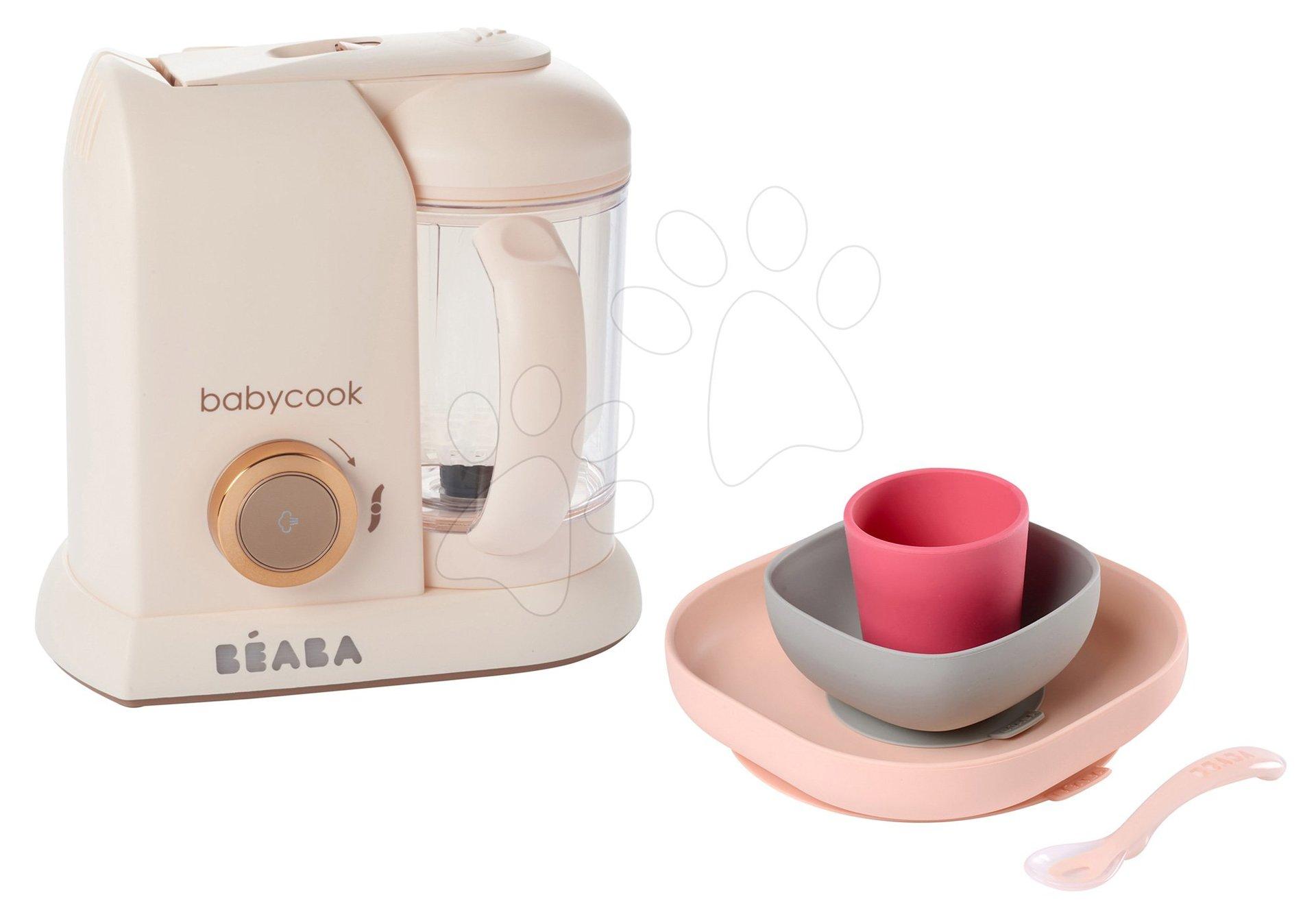 Set parný varič a mixér Babycook Solo Rose Gold Beaba limitovaná edícia a darček 4-dielna jedálenská súprava Meal od 0 mesiacov