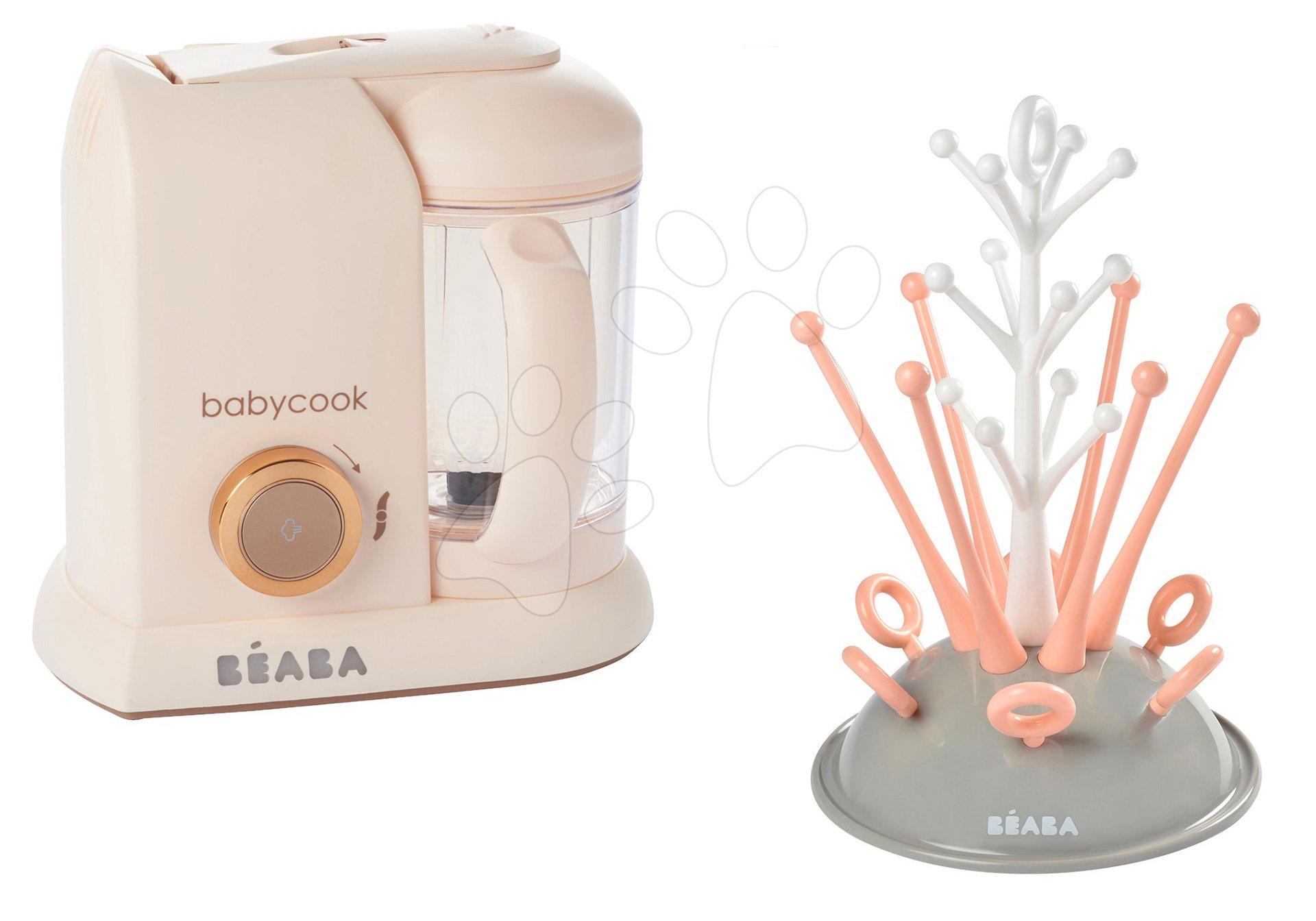 Set parný varič a mixér Babycook Solo Rose Gold Beaba limitovaná edícia a darček odkvapávač dojčenských fliaš Strom od 0 mesiacov