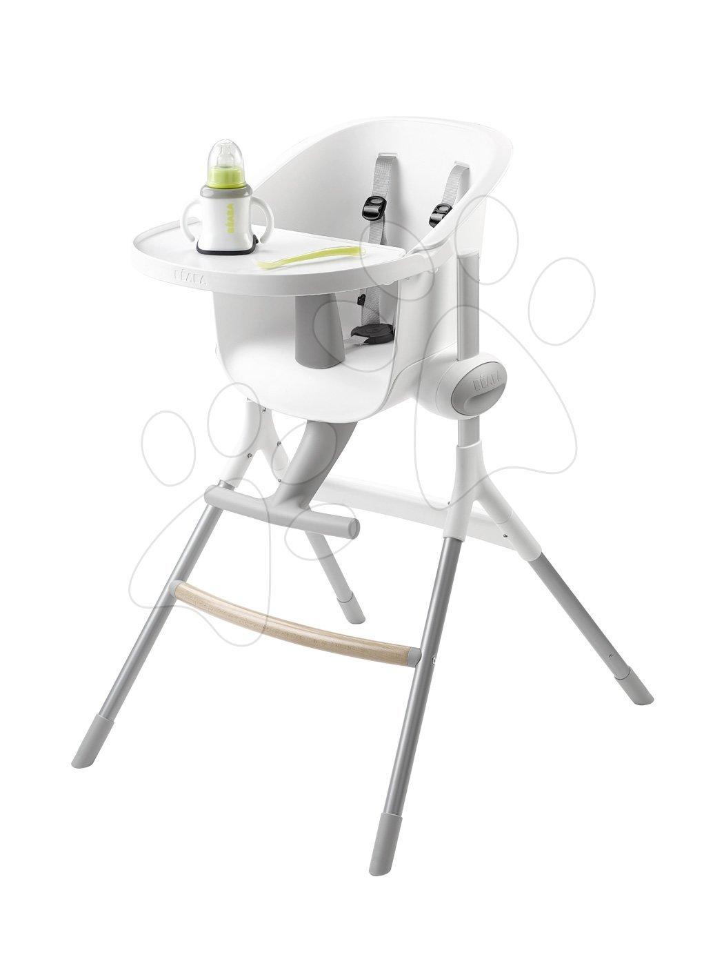 Jedálenská stolička z dreva Up & Down High Chair Beaba polohovatelná do 6 výšok, šedo-biela od 6-36 mesiacov