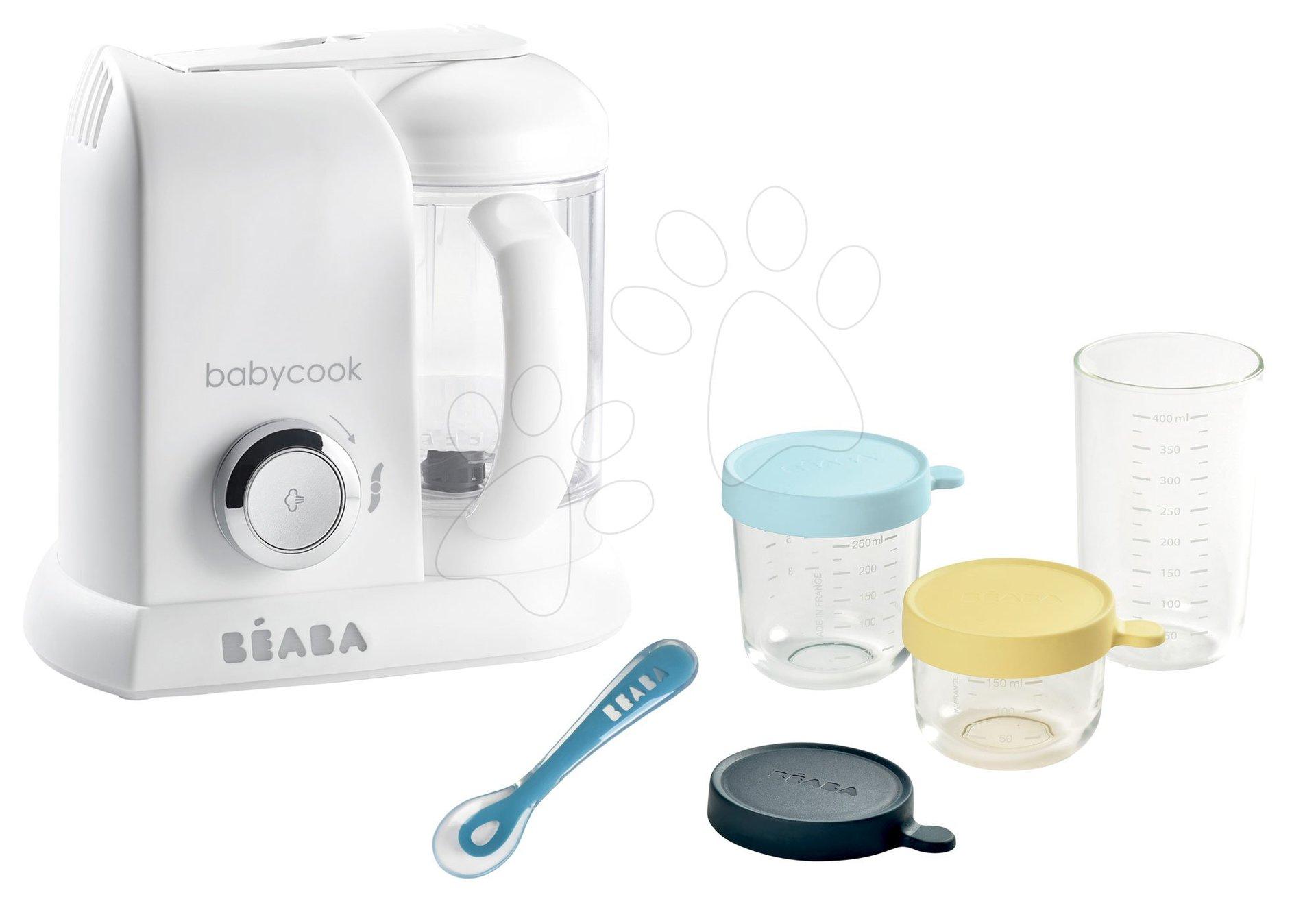 Szett ételpároló és turmixgép Babycook® Solo white silver Beaba + ajándék 3 ételtároló doboz minőségi üvegből és szilikon kiskanál 150/250/400ml 0 hó-tól
