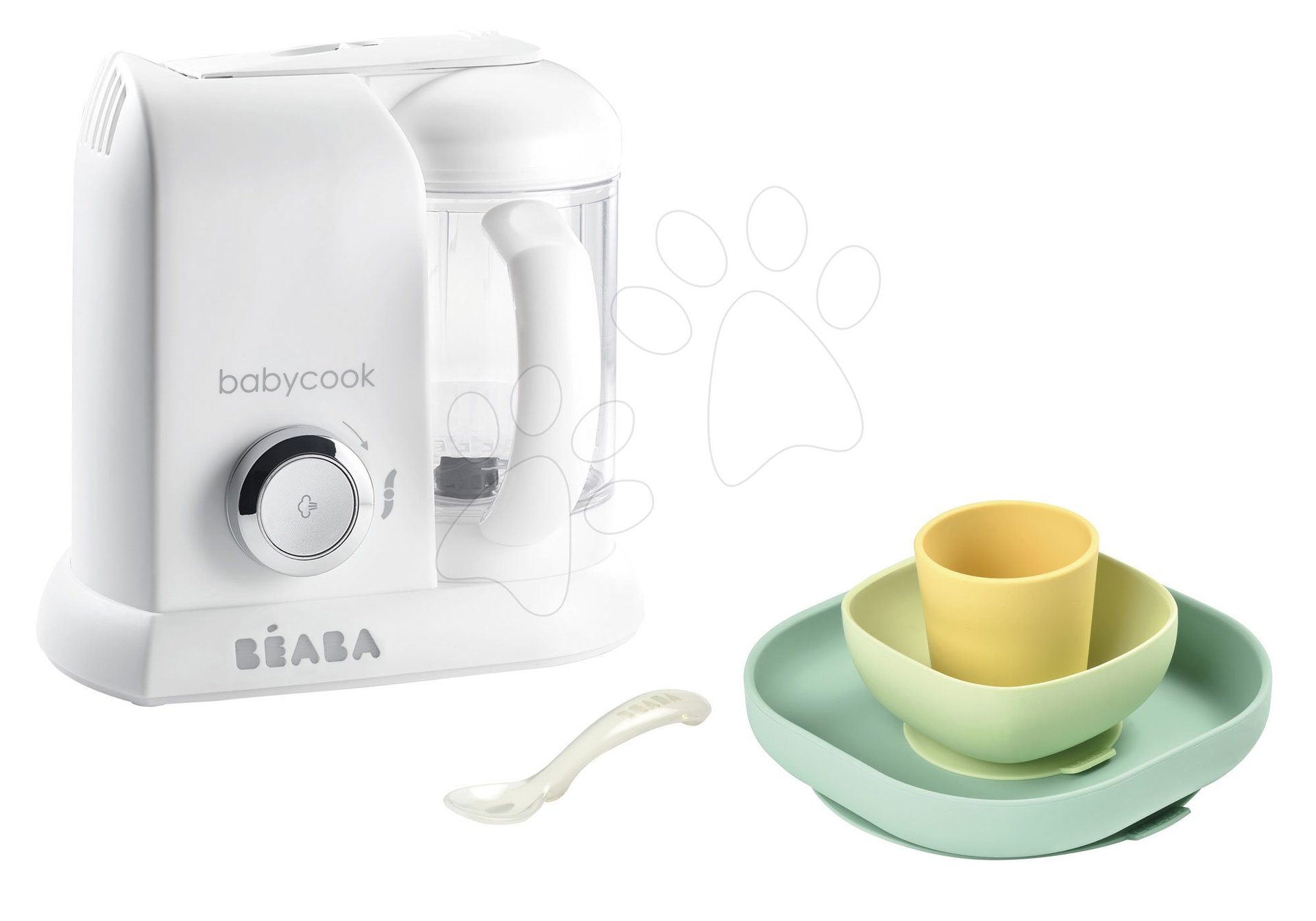 Set parní vařič a mixér Babycook® Solo white silver Beaba + dárek jídelní souprava Silicone meal 4-dílná od 0 měs