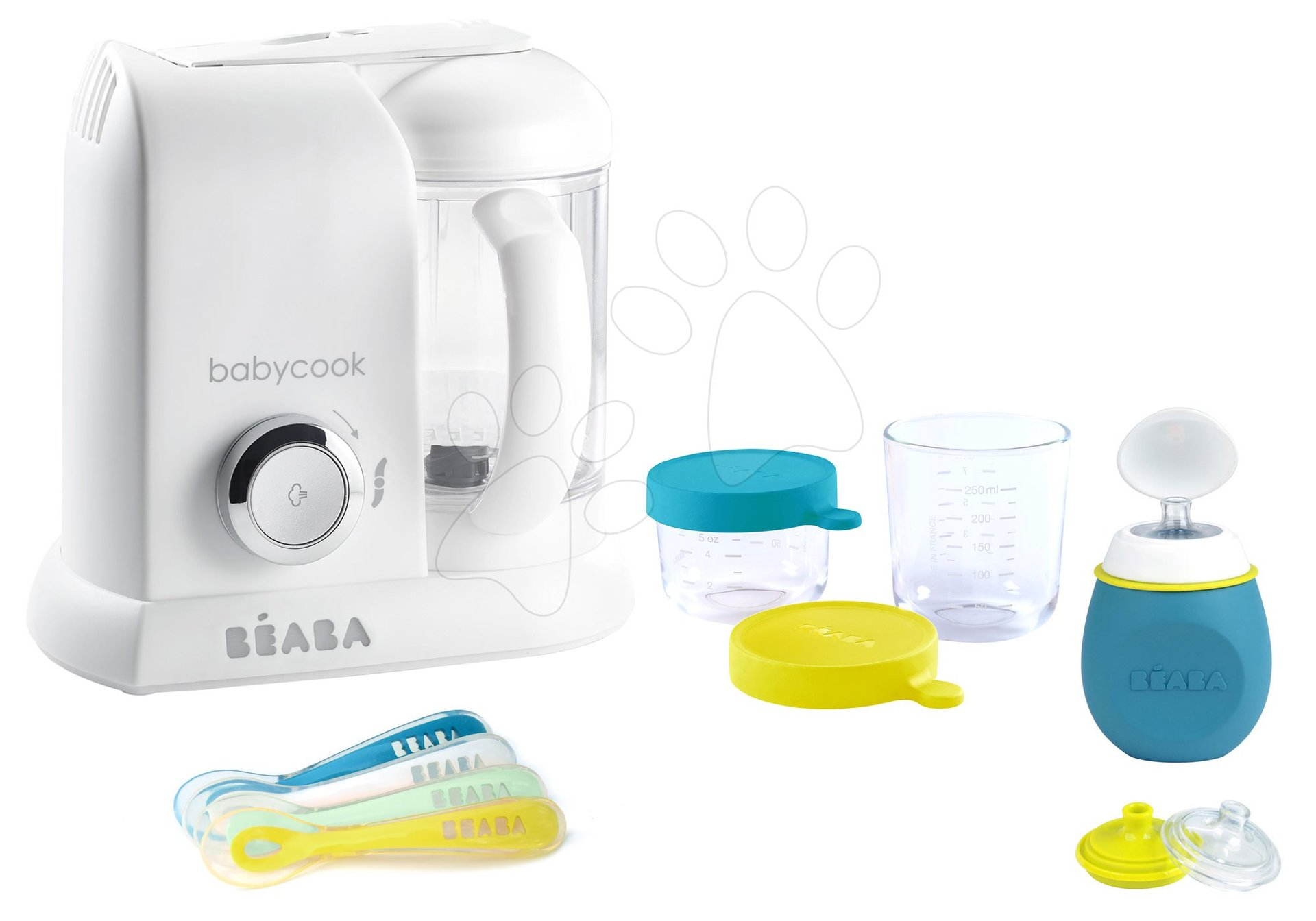 Set aparat de gătit cu aburi si mixer Beaba Babycook® Solo white silver + cadou 2 recipiente pentru stocarea mâncării din sticlă de calitate, sticlă cu capac şi 4 linguriţe pentru hrănire individua