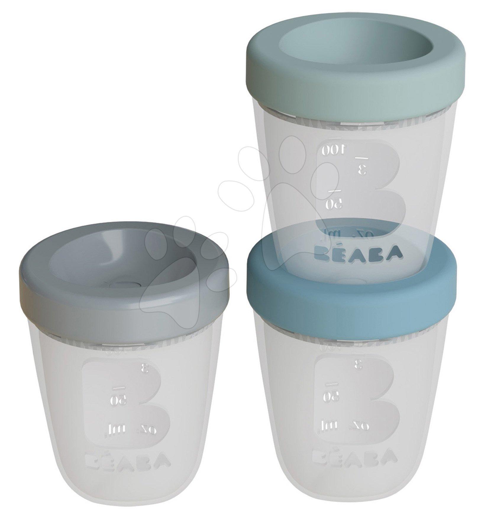 Dóza na jedlo Silicone Portions Beaba Jungle silikónové poháre 3x200 ml modrá zelená a šedá od 0 mes