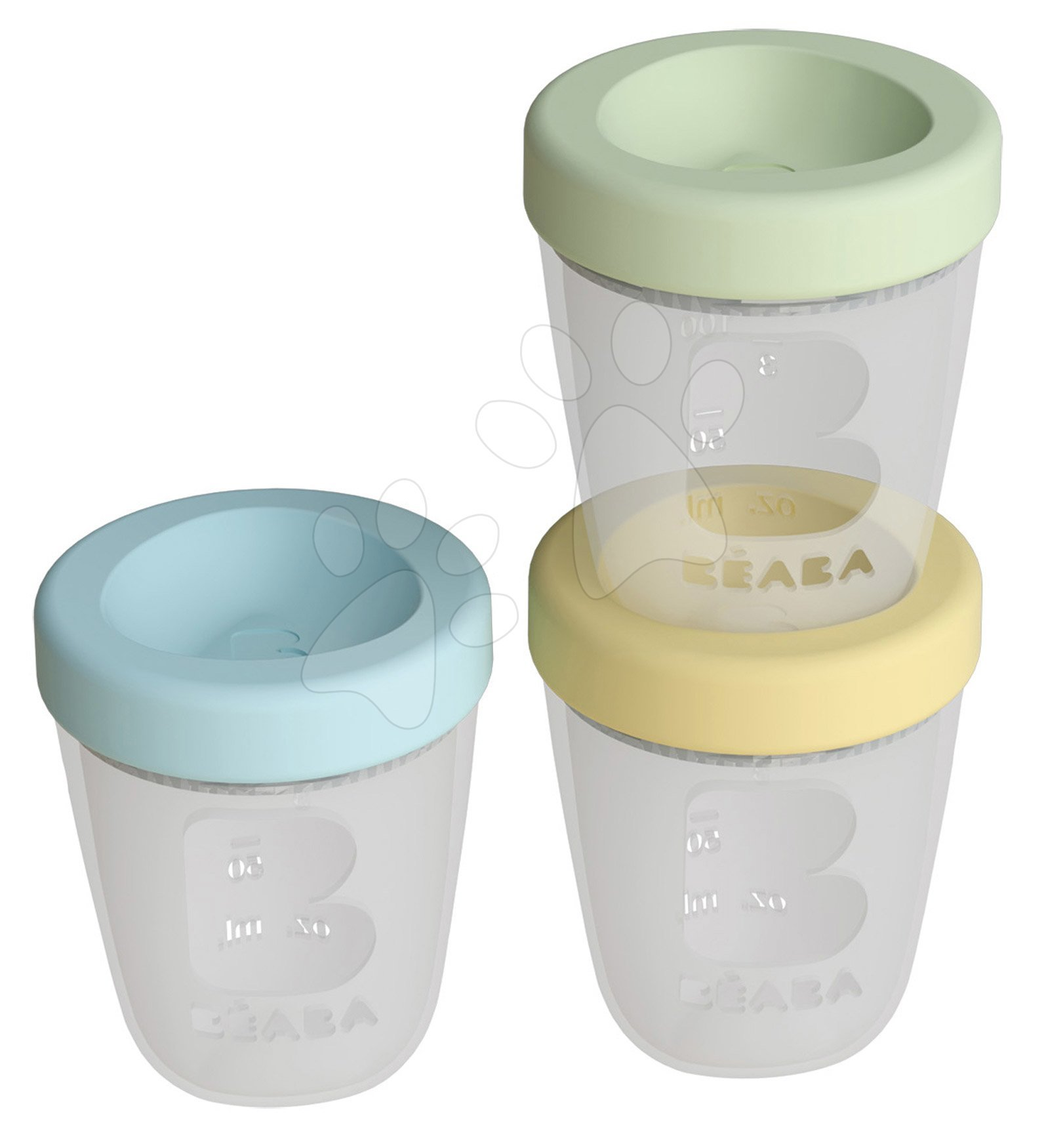Dóza na jedlo Silicone Portions Beaba Spring silikónové poháre 3x200 ml modrá žltá a zelená od 0 mes