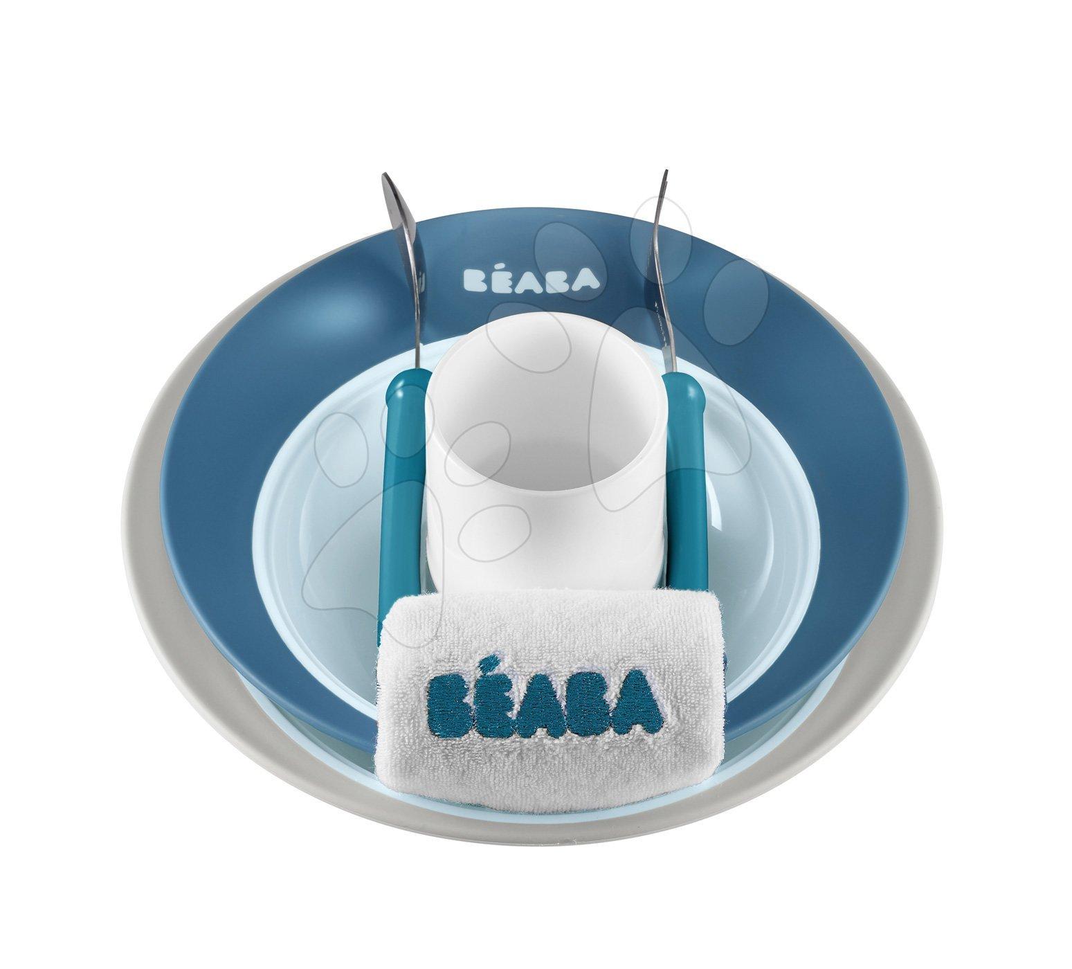 Jedálenská súprava Beaba Ellipse v darčekovom balení modrá od 4 mesiacov