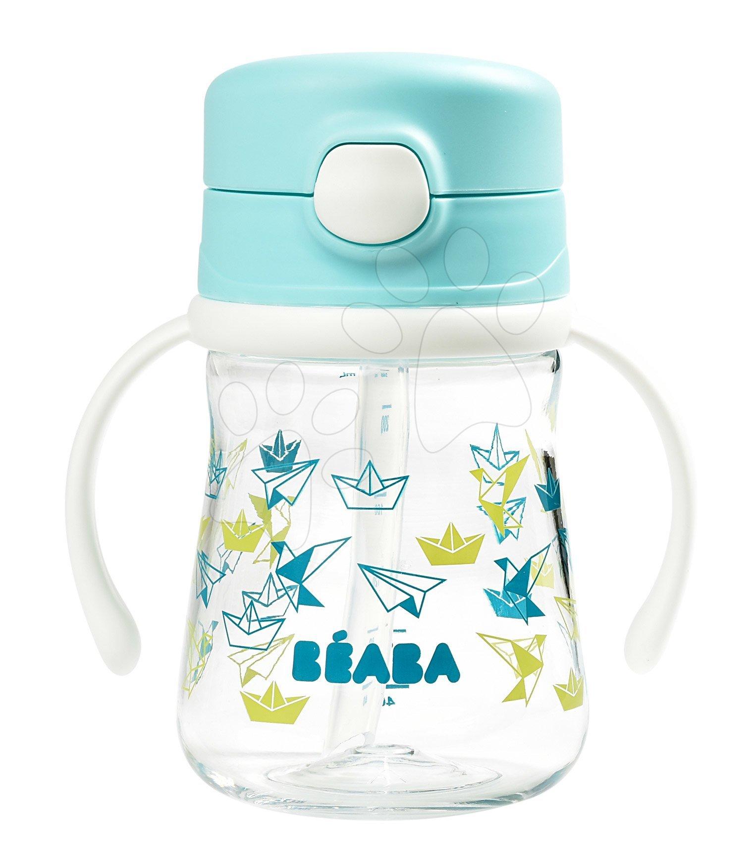 Láhev Bidon z tvrdého plastu Straw Cup Beaba 240 ml s brčkem na pití světlemodrá od 8 měsíců