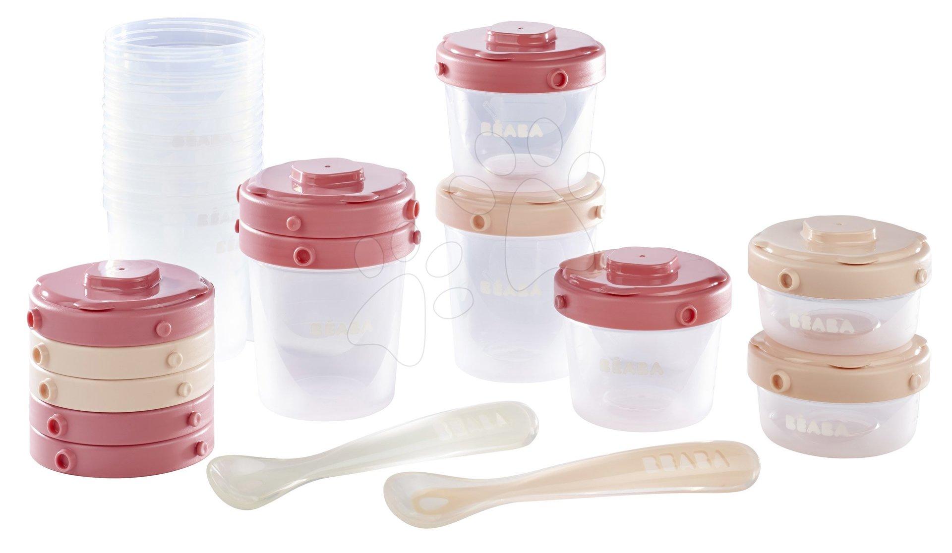 Set 12 dóz na jedlo 12 Clip Beaba s dvoma lyžickami zo silikónu pre bábätká 2x60ml 4x120 ml 6x200 ml ružová a nude od 4 mes