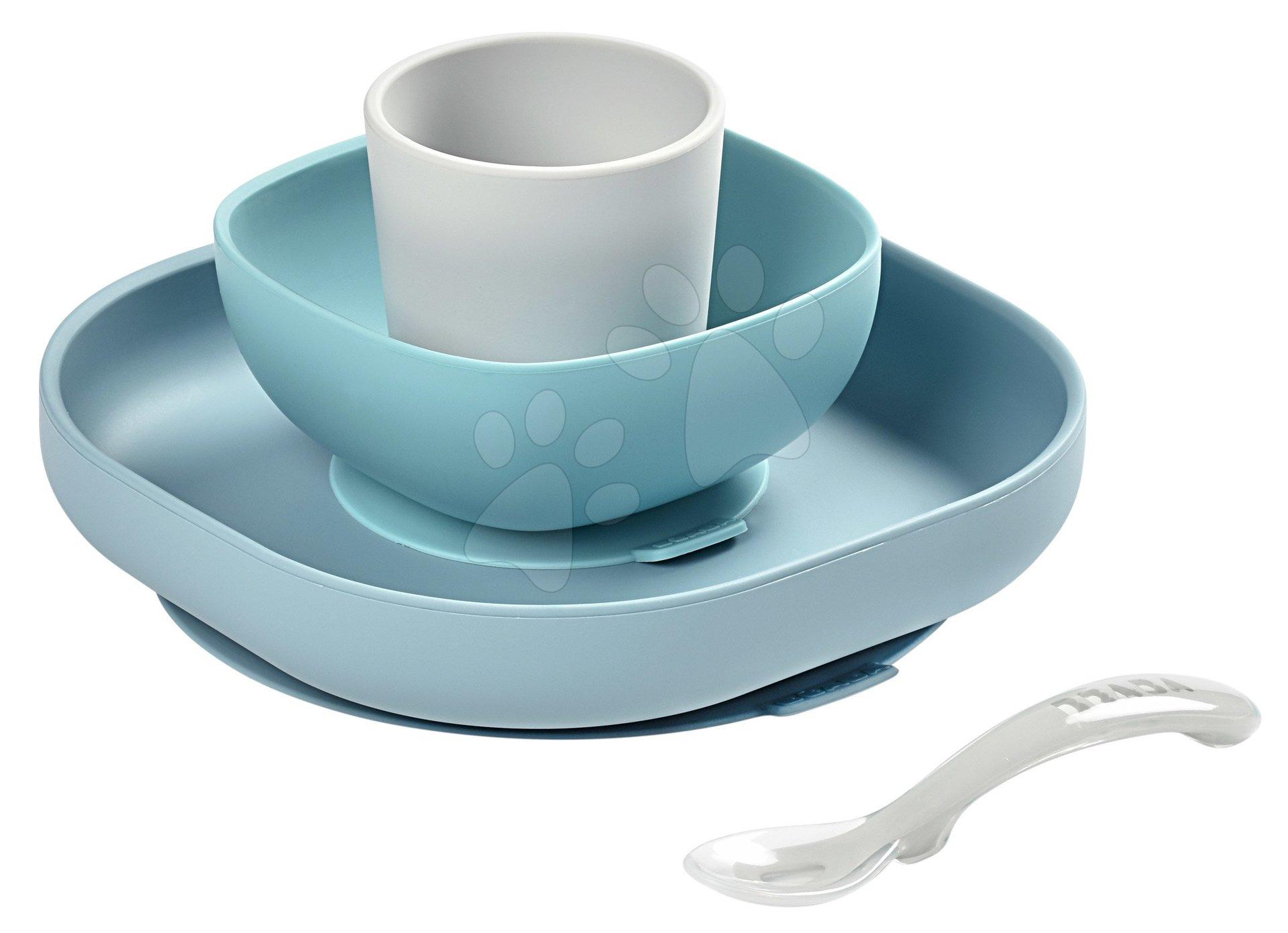 Jedálenská súprava Silicone Meal Set Beaba zo silikónu 4-dielna modrá pre bábätká od 4 mes