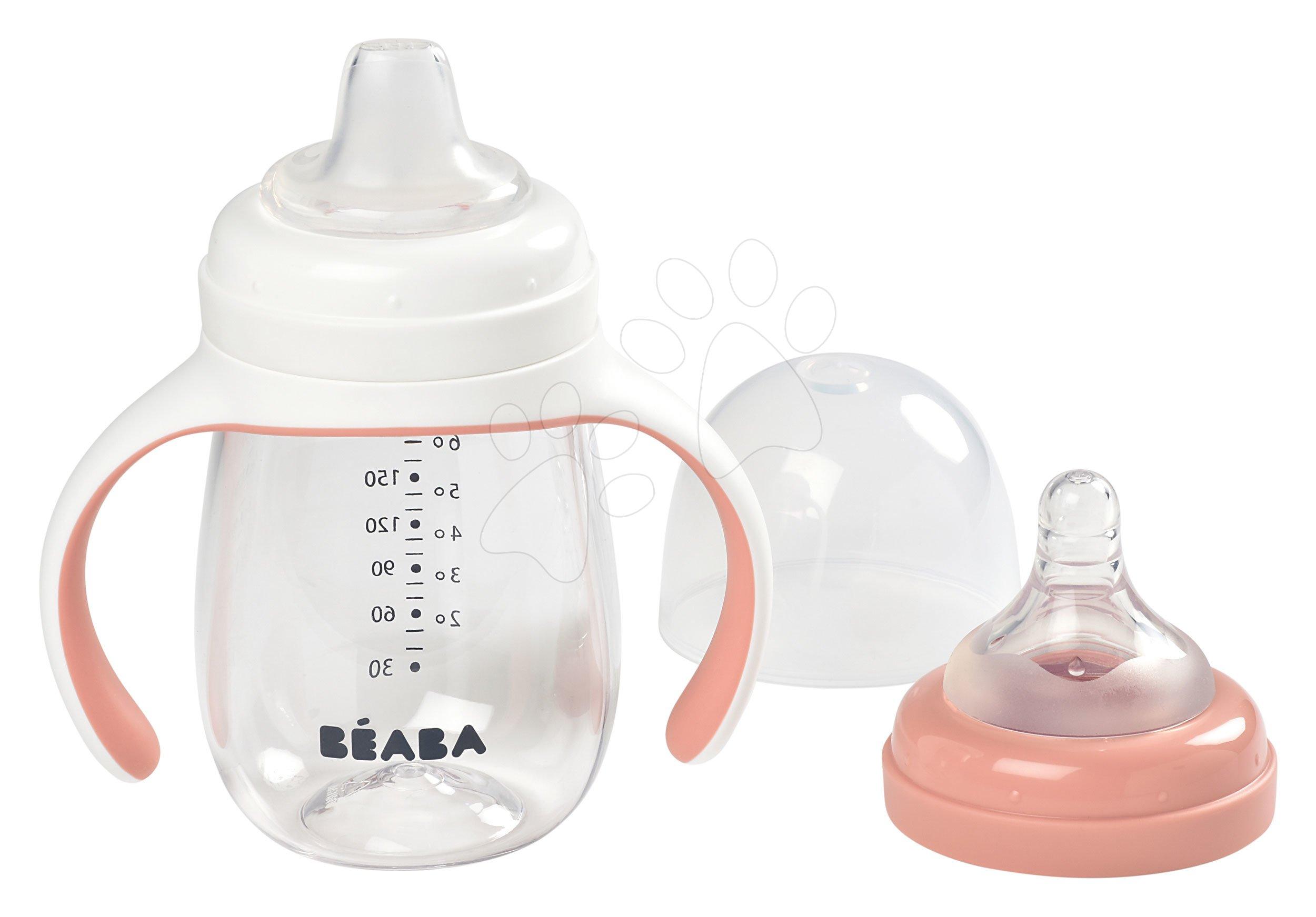 Steklenička bidon za učenje pitja Beaba Learning Cup 2in1 Pink 210 ml s slamico rožnata od 4 mes