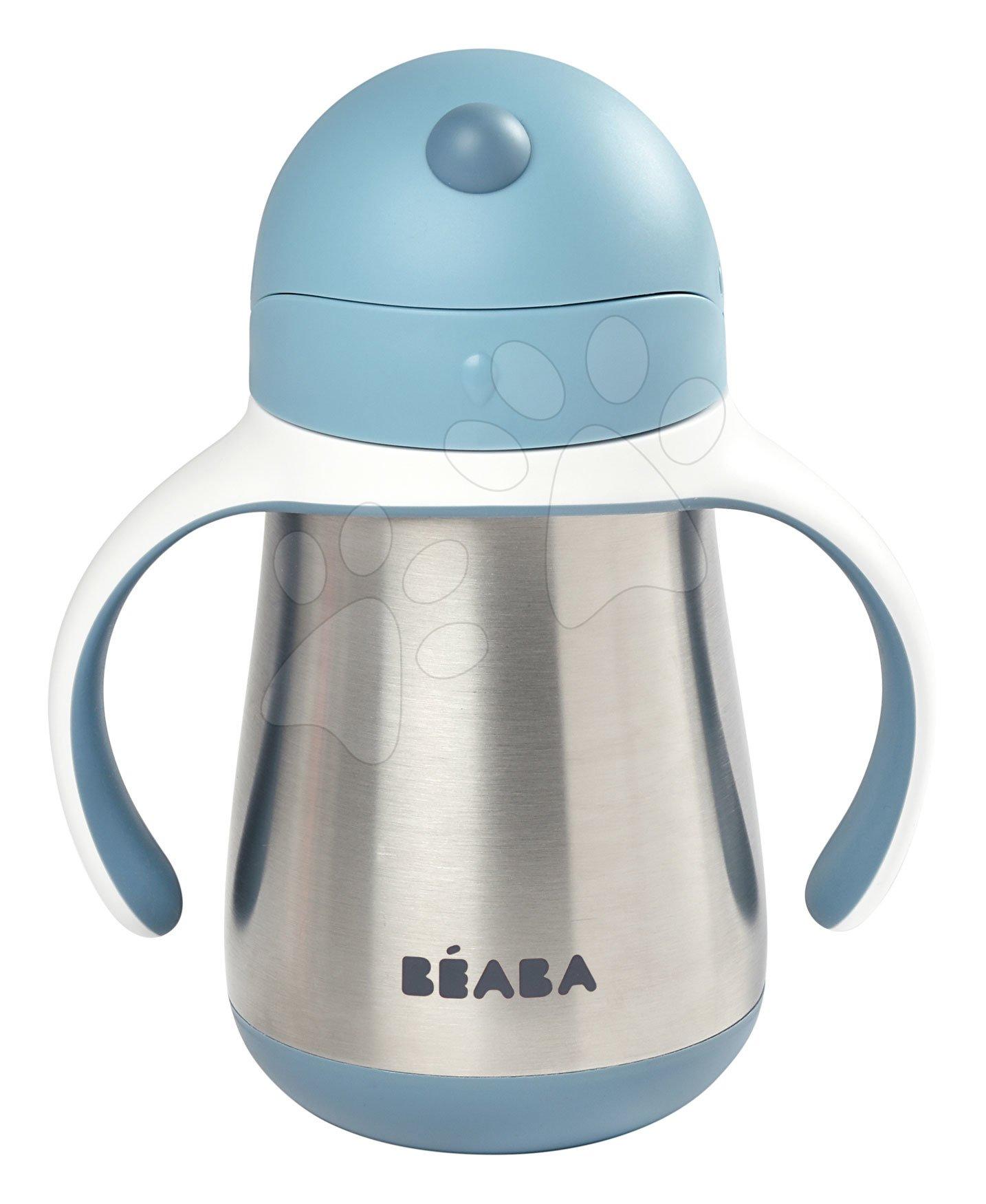 Ivó palack bidon dupla falú Stainless Steel Straw Cup Beaba Windy Blue 250ml kék rozsdamentes acélból 8 hó-tól