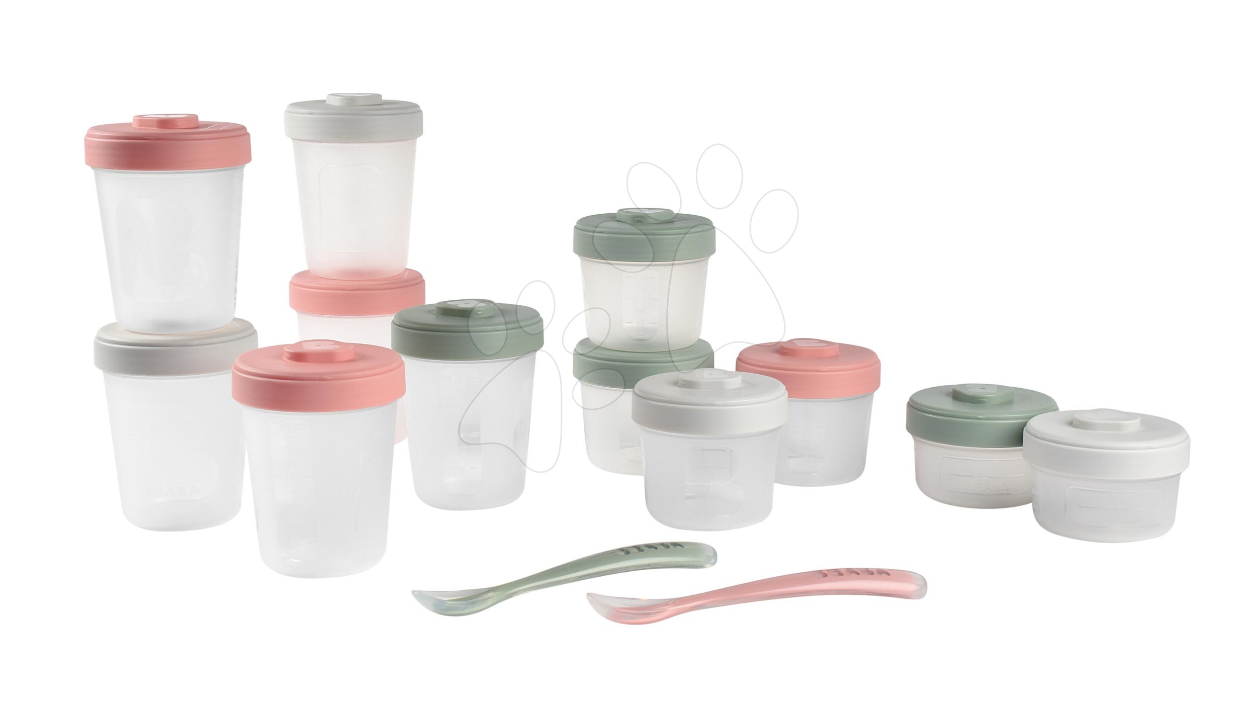 Caserole și forme pentru alimente - Set 12 recipiente pentru mâncare Beaba Expert Meal & Food Storage Pack Eucalyptus 12 clip și 2 lingurițe din silicon roz