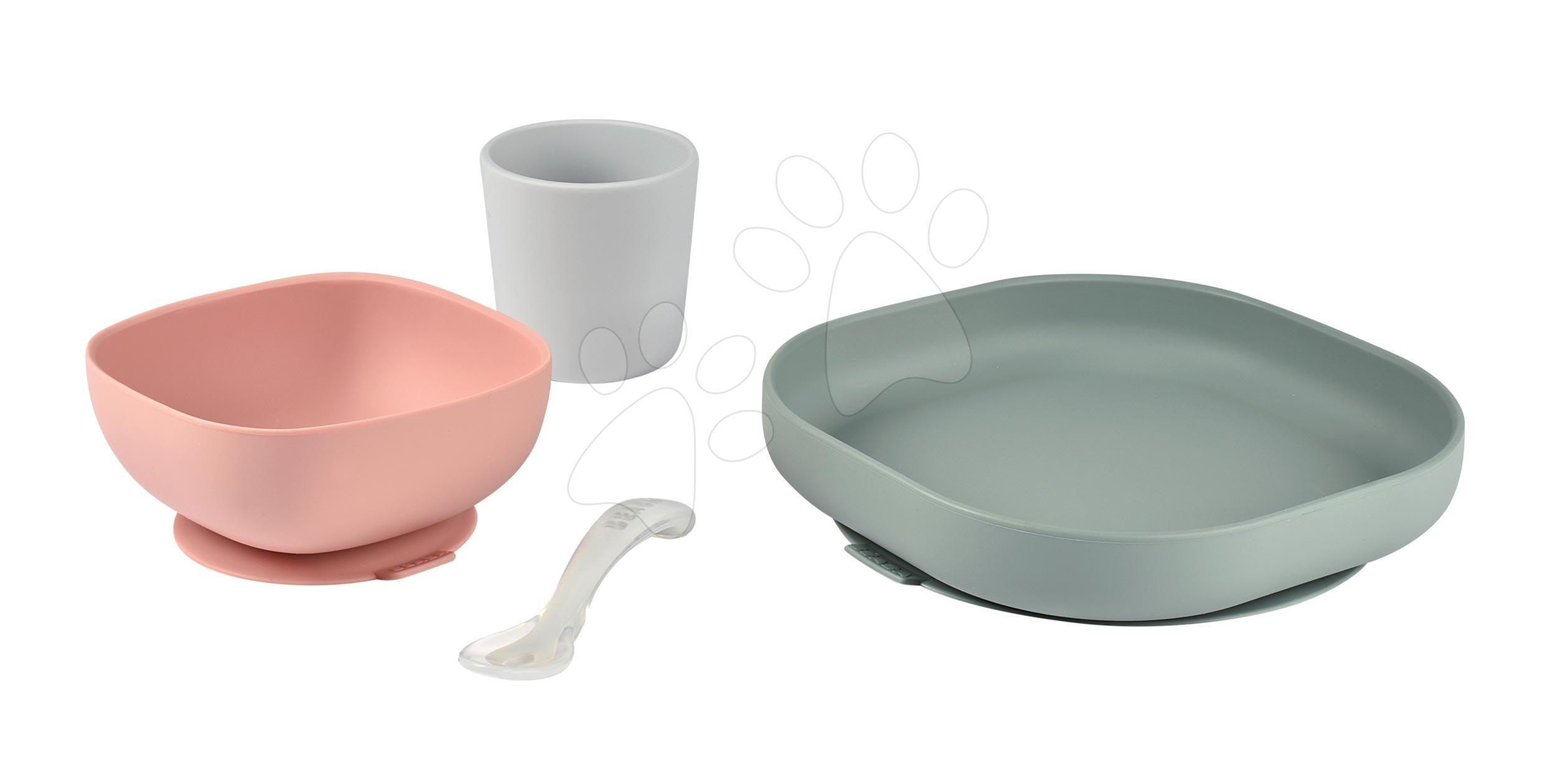 Jedálenská súprava Beaba Silicone meal set zo silikónu 4 dielna ružovo-béžovo-šedá pre bábätká