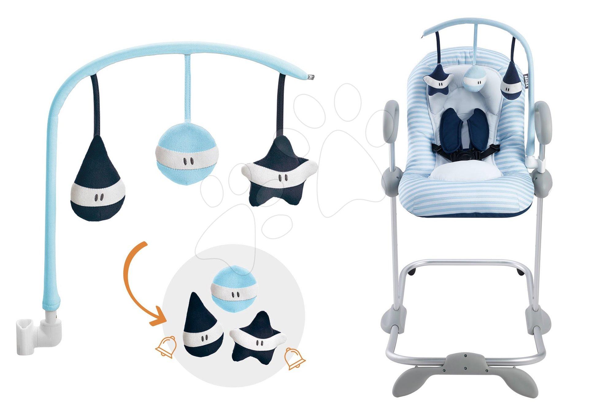Set detské polohovateľné lehátko Up & Down III Blue Beaba od 0 mesiacov a kolotoč nad lehátko Beaba Play modrý
