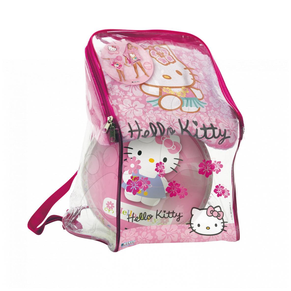 Set prosop cu glugă-poncho cu minge Hello Kitty Mondo în rucsac