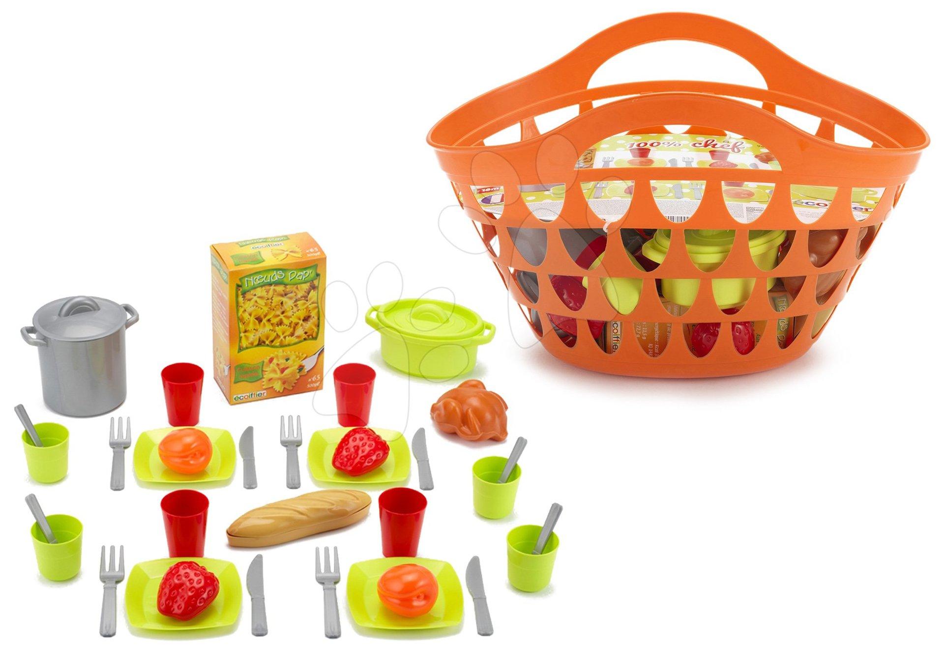 Košík s nádobím 100% Chef Écoiffier s 33 doplňky oranžový od 18 měsíců