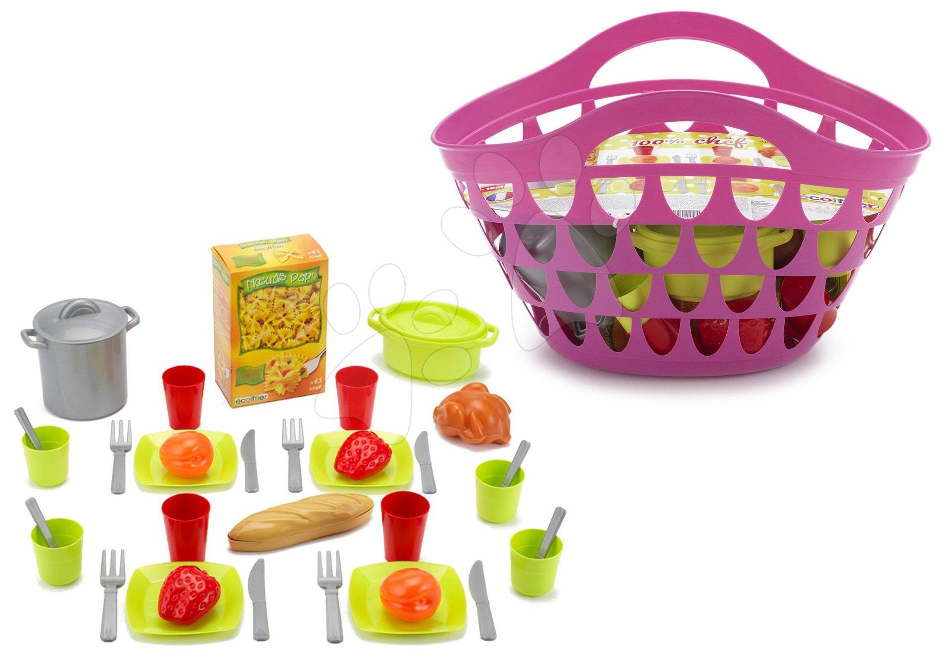 Košík s nádobím 100% Chef Écoiffier s 33 doplňky růžový od 18 měsíců
