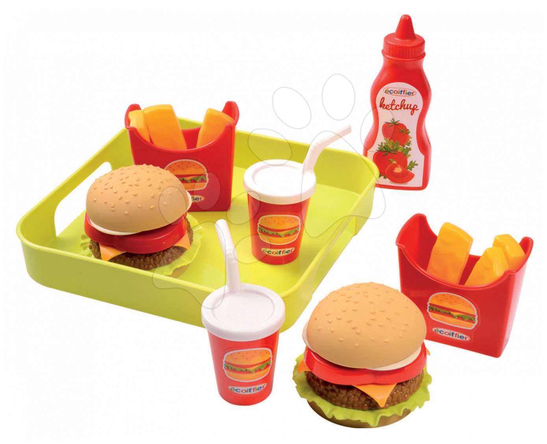 Riadíky a doplnky kuchynky - Set hamburgerov 100% Chef Écoiffier na tácke od 18 mes