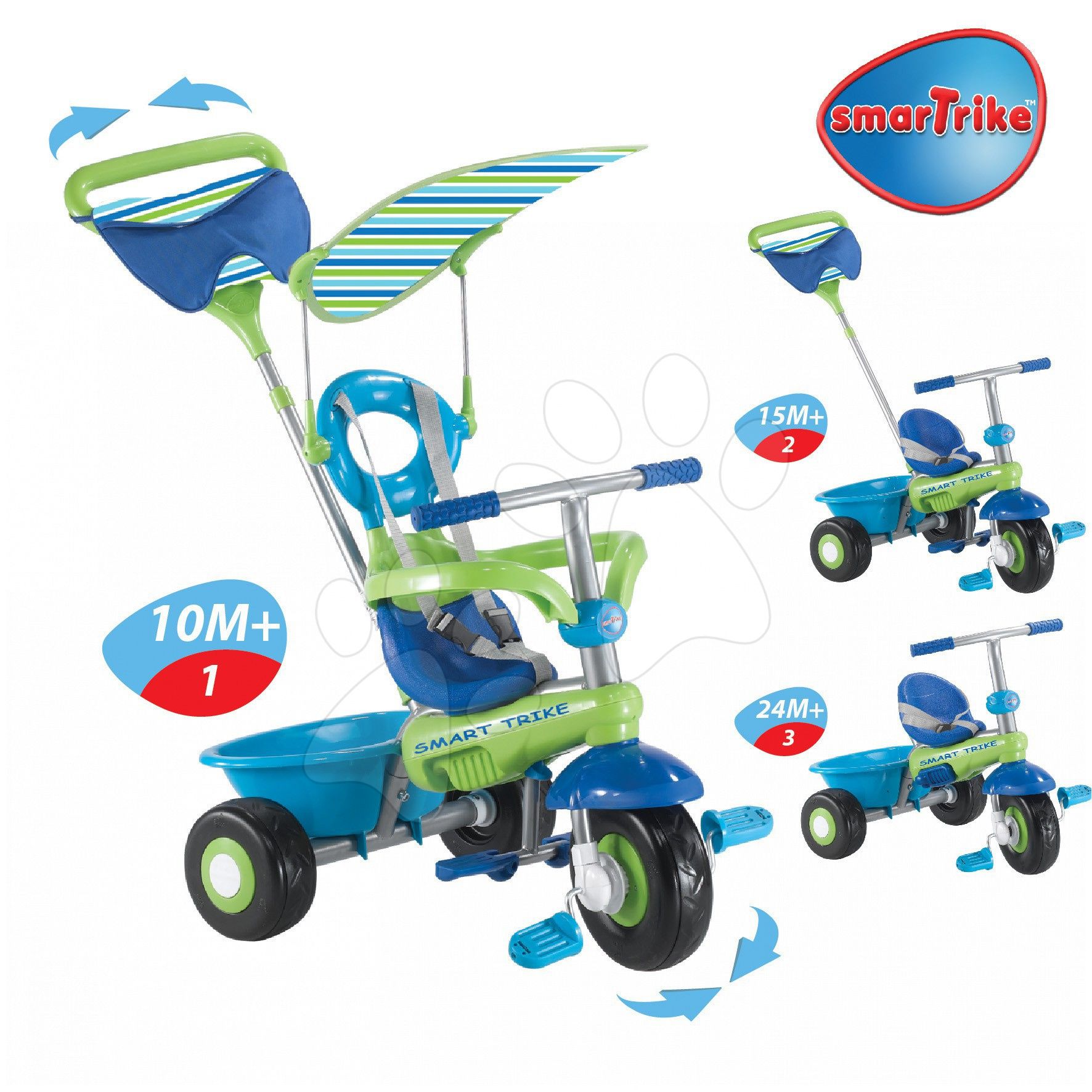 Trojkolky od 10 mesiacov - Trojkolka Plus Fresh smarTrike modro-zelená s pásikmi od 10 mes