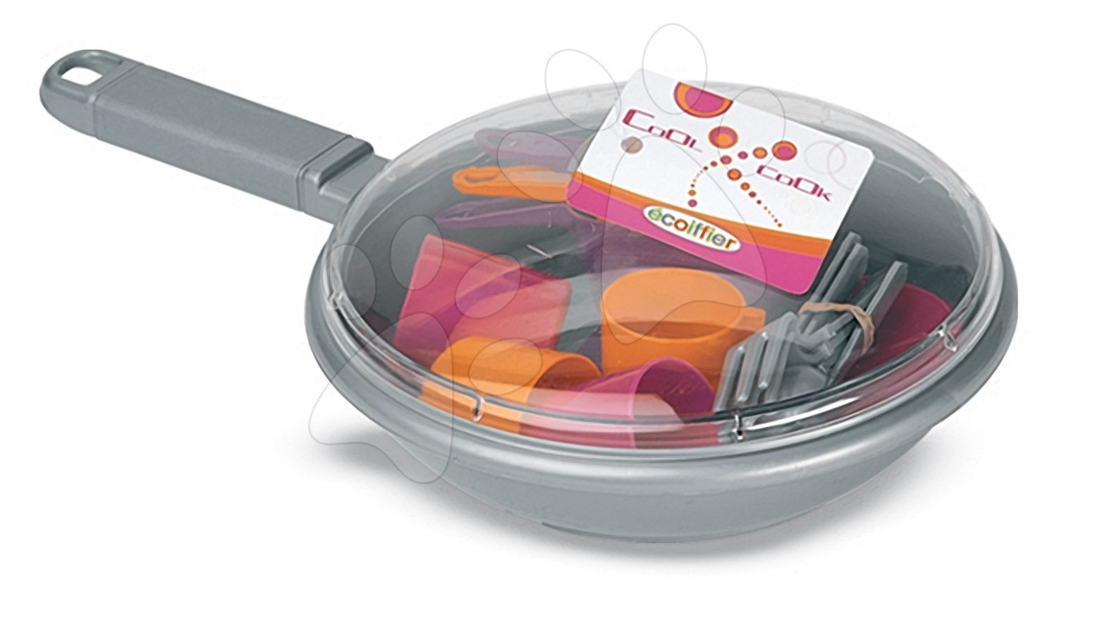 Nádobí a doplňky do kuchyňky - Pánev s nádobím Bubble Cook Écoiffier s 18 doplňky růžová od 18 měsíců