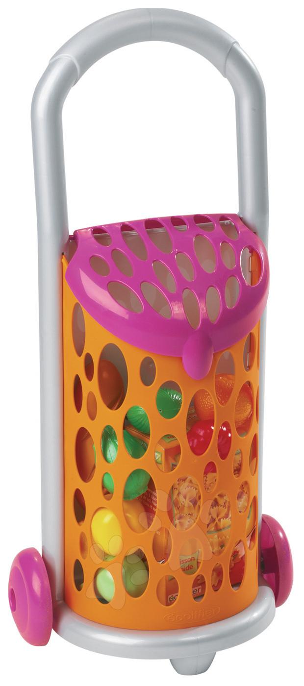 Obchody pro děti - Nákupní vozík Bubble Cook Écoiffier na dvou kolečkách a 9 doplňků od 18 měsíců