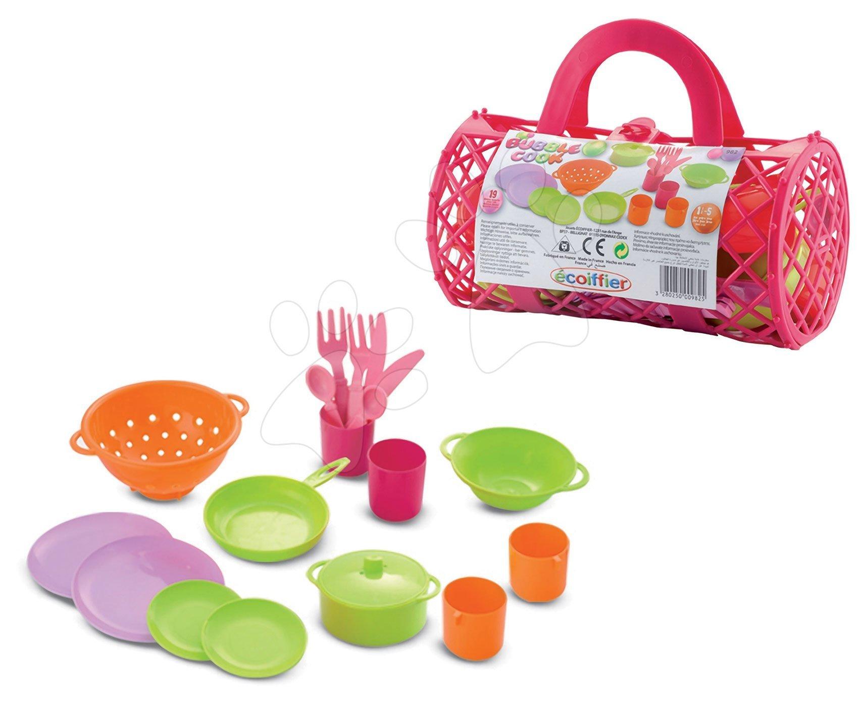 Écoiffier detský obedový set Bubble Cook 982 ružový