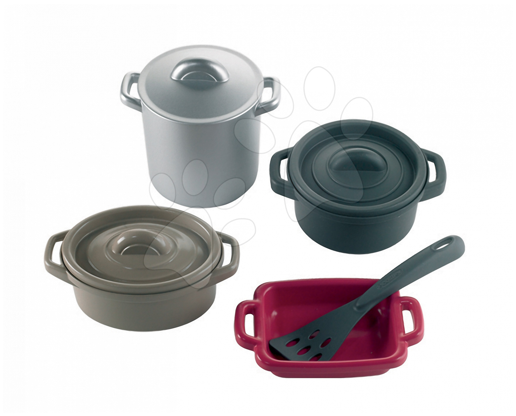 Accesorii și vase de bucătărie de jucărie - Set vase PRO Cook Écoiffier cu 8 bucăți de la 18 luni