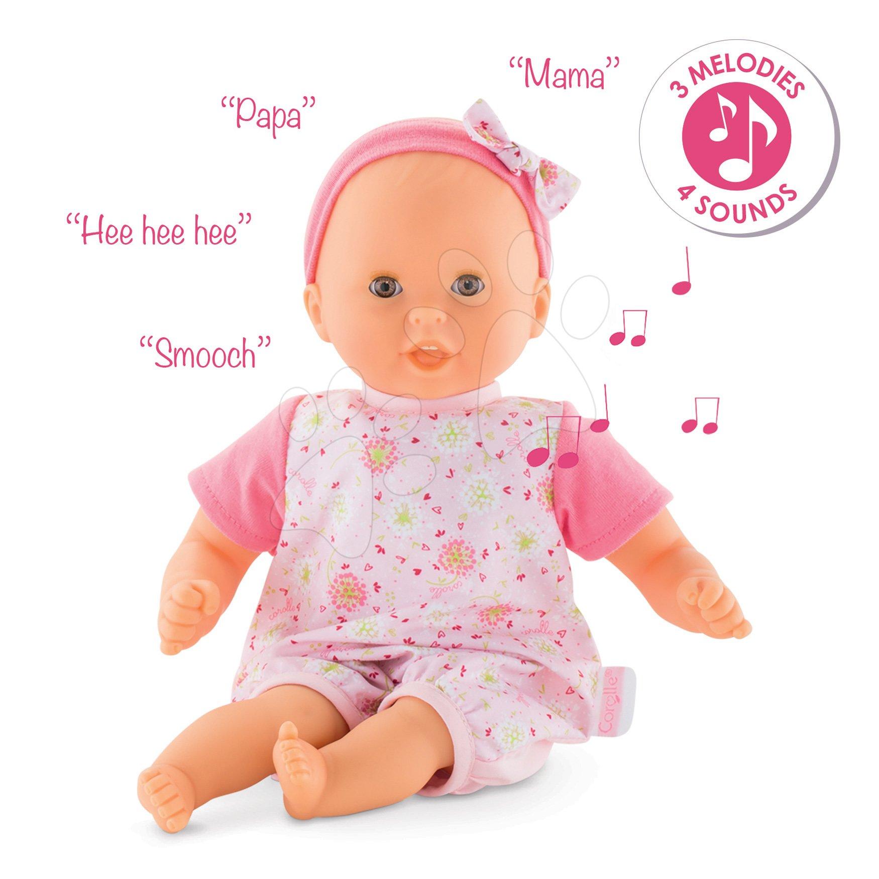 Dojenček Bébé Calin Loving & Melodies Features Corolle interaktiven s 4 zvoki in 3 melodijami z rjavimi mežikajočimi očkami 30 cm od 18 mes