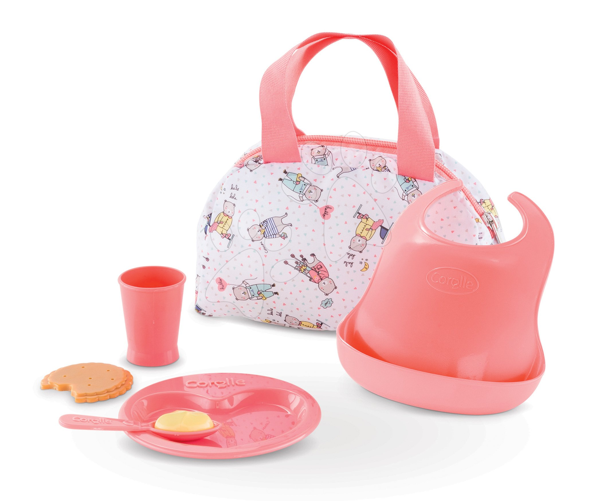 Obedová súprava s taškou Mealtime set Mon Grand Poupon Corolle pre 36-42 cm bábiku od 24 mes