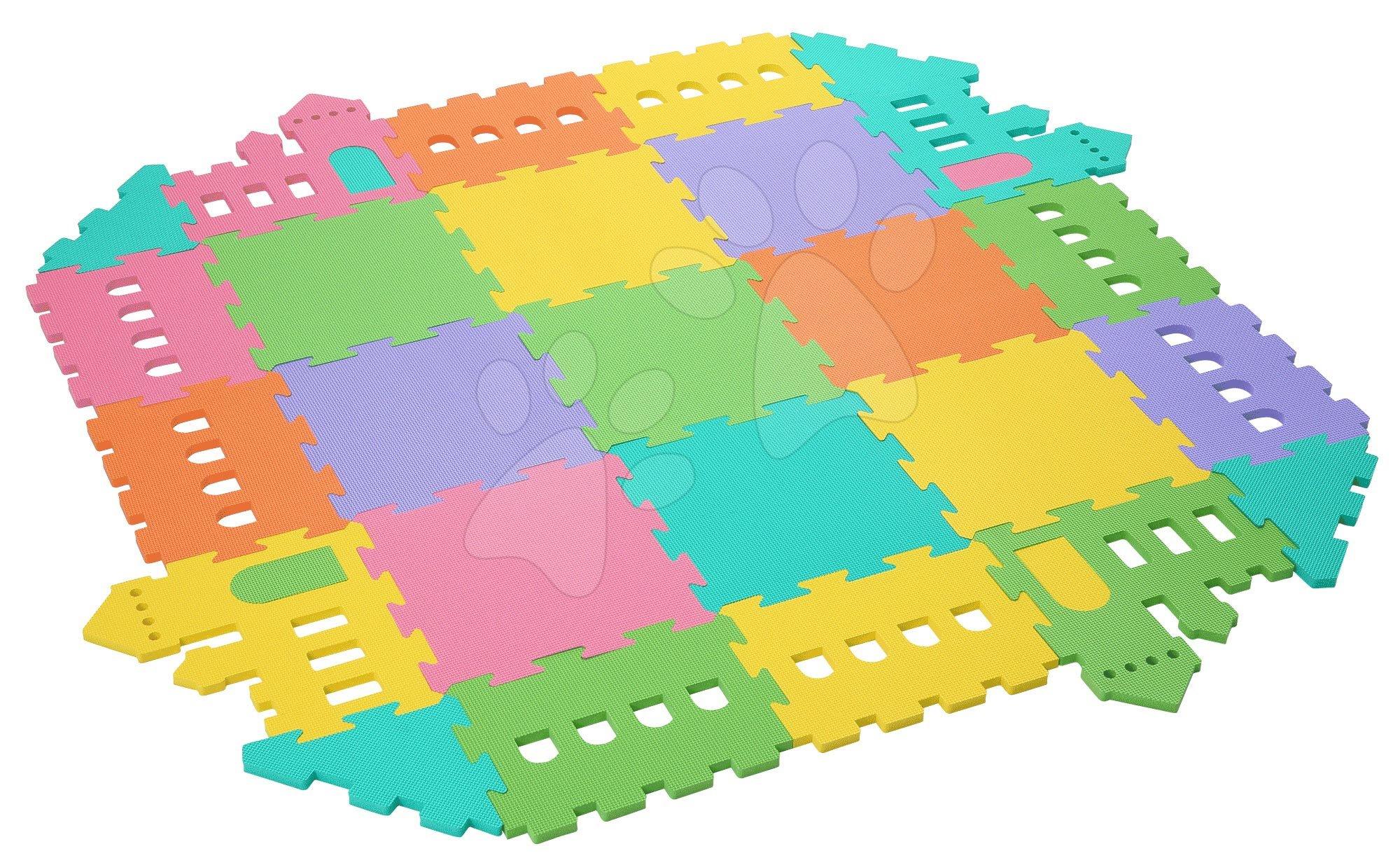 Podlahové puzzle pro miminka - Pěnový koberec hrad Lee Chyun s plotem v tašce pro nejmenšh 25 ks