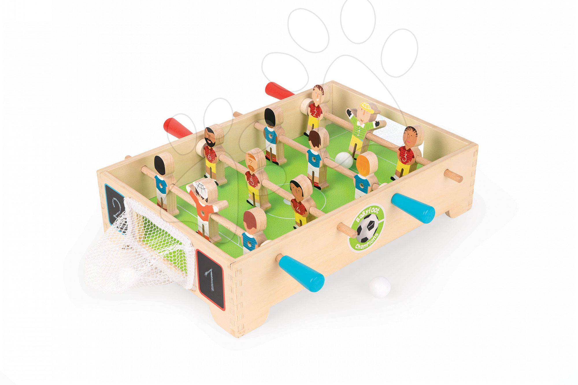 Stolný futbal - Drevený futbalový stôl Champions Janod so sieťkovou bránkou od 3 rokov
