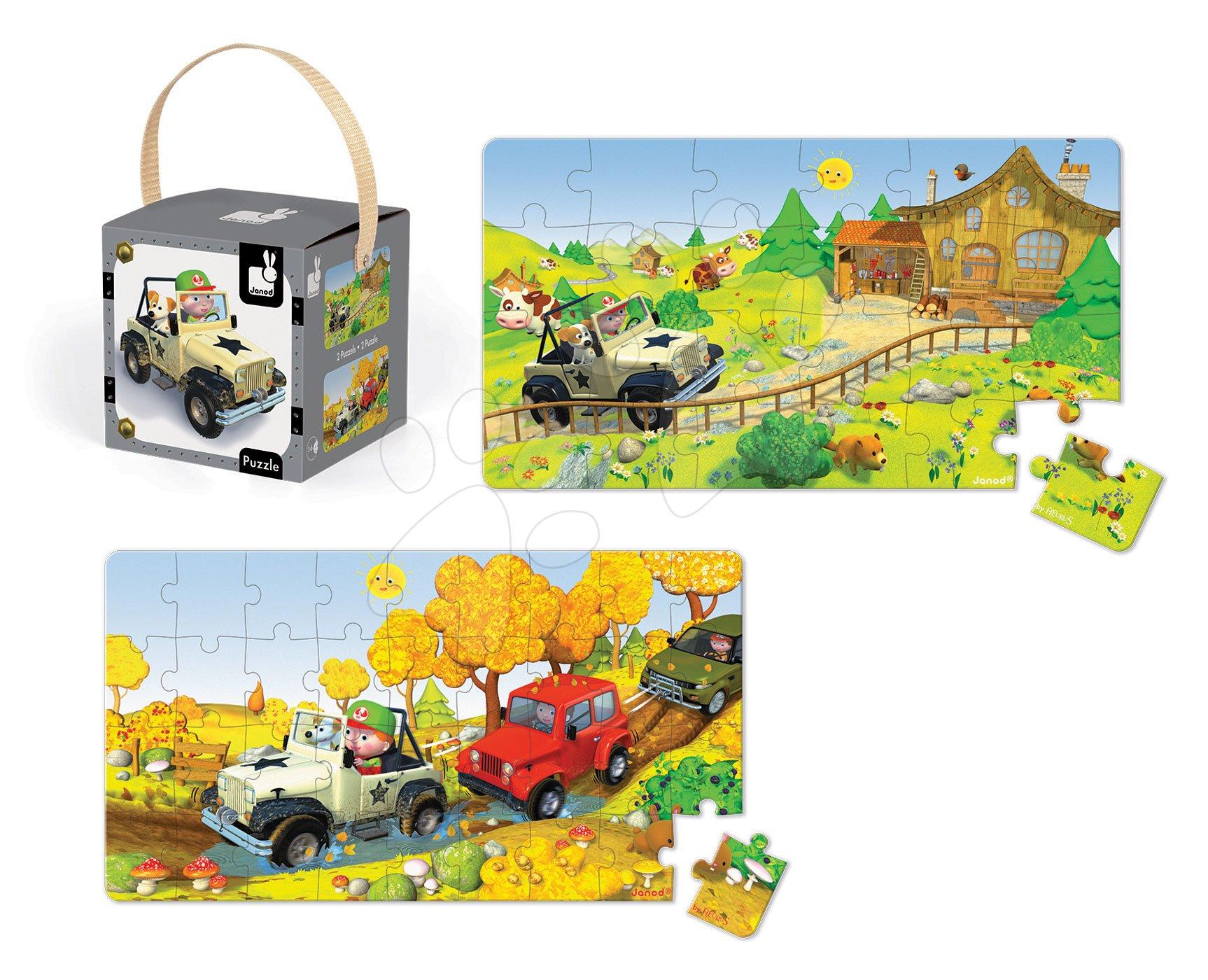 Detské puzzle do 100 dielov - Puzzle Jankove auto Janod v kufríku 24 - 36 dielov od 3 - 6 rokov
