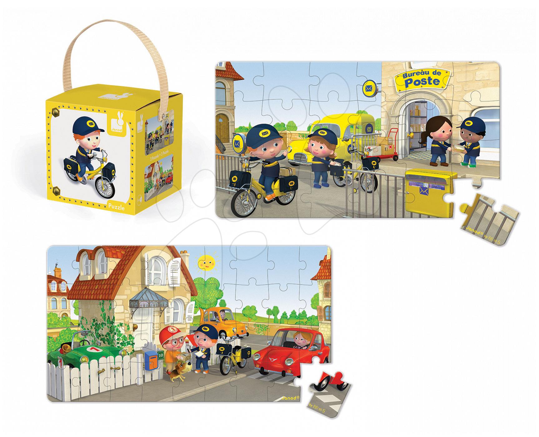 Detské puzzle do 100 dielov - Puzzle Matúšov bicykel Janod v kufríku 24 - 36 dielov od 3 - 6 rokov