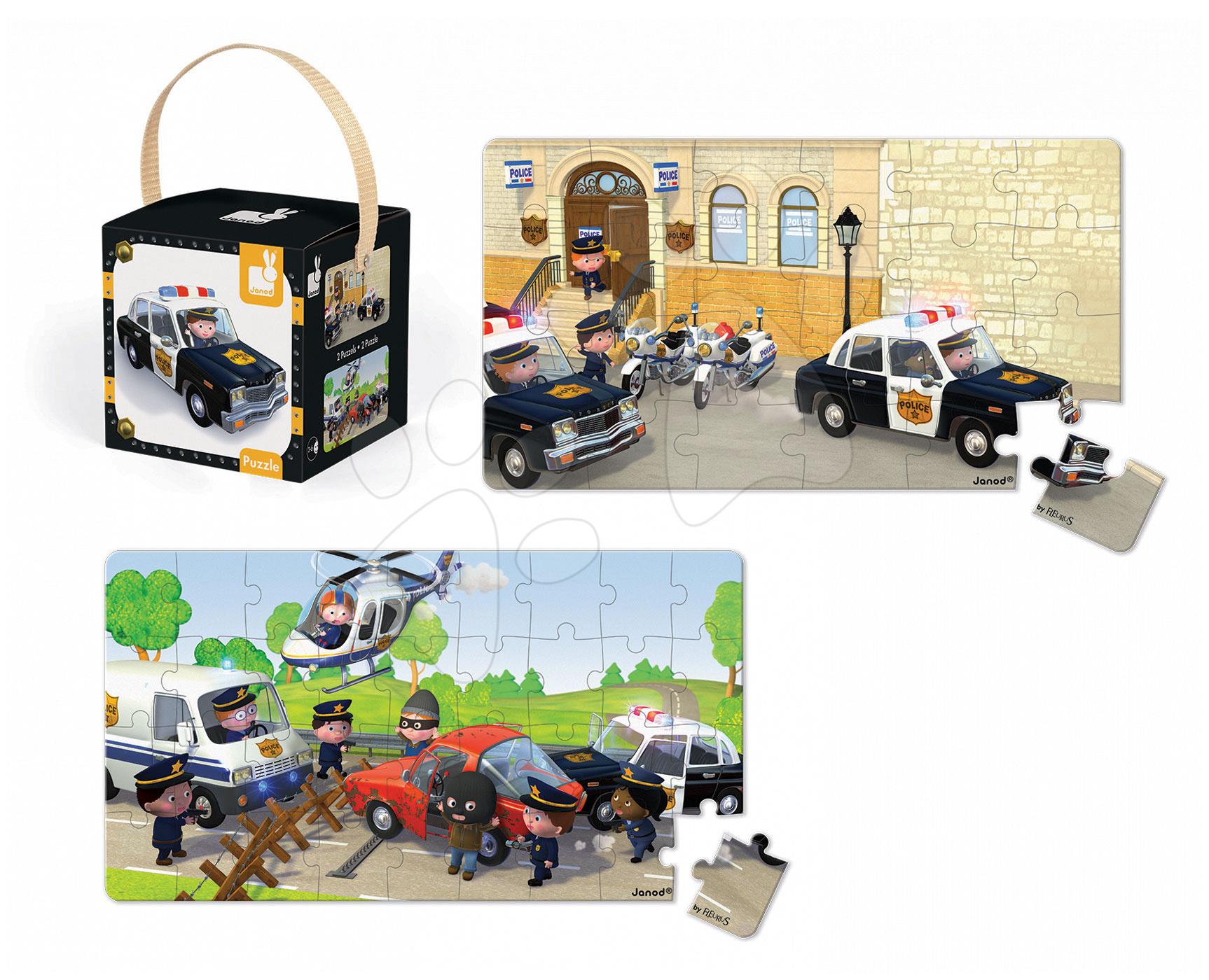 Detské puzzle do 100 dielov - Puzzle Borisove policajné auto Janod v kufríku 24 - 36 dielov od 3 - 6 rokov