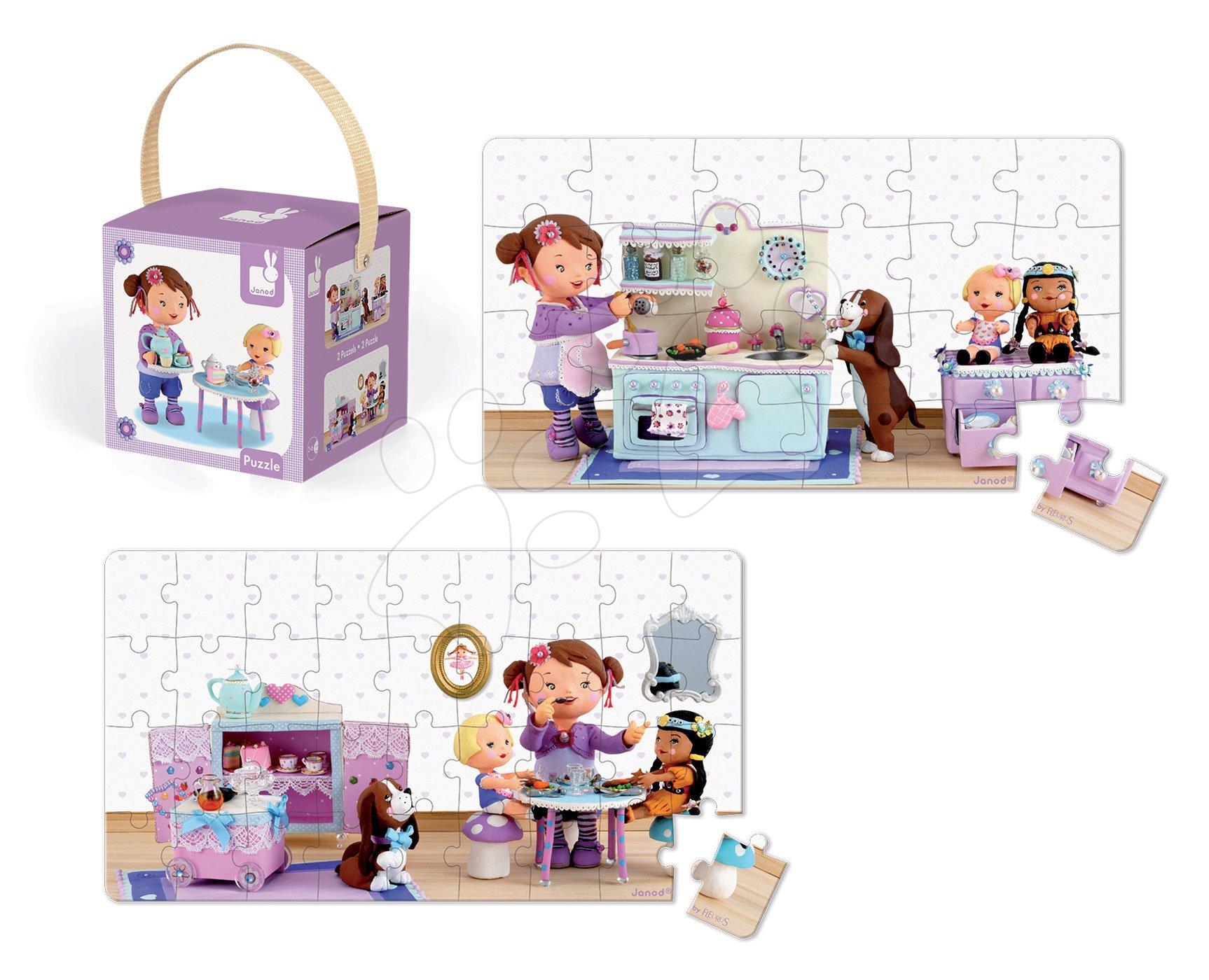 Detské puzzle do 100 dielov - Puzzle Lola na čajovej párty Janod v kufríku 24 - 36 dielov od 3 - 6 rokov