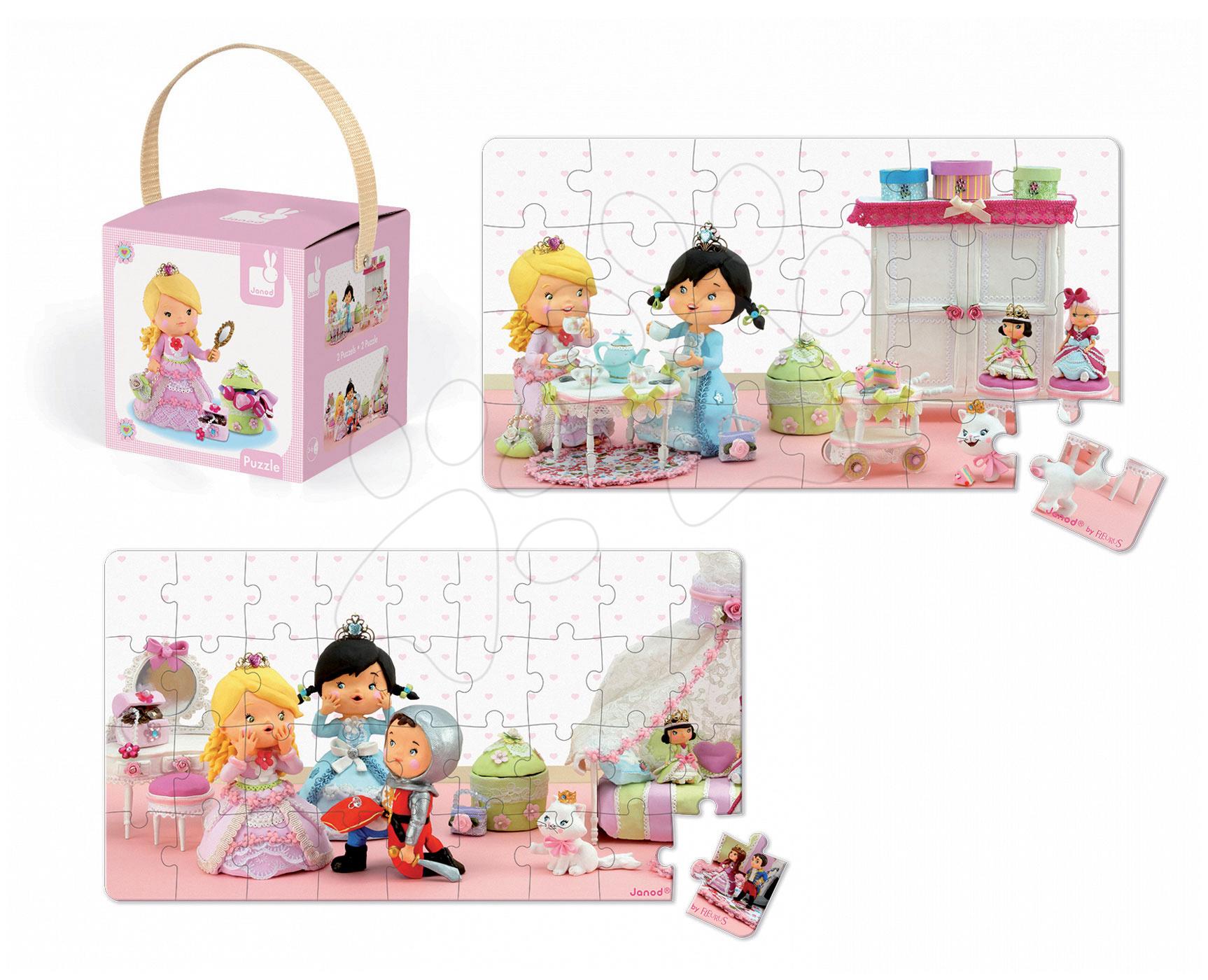 Detské puzzle do 100 dielov - Puzzle Ruženka sa hrá na princeznú Janod v kufríku 24 - 36 dielov od 3 - 6 rokov