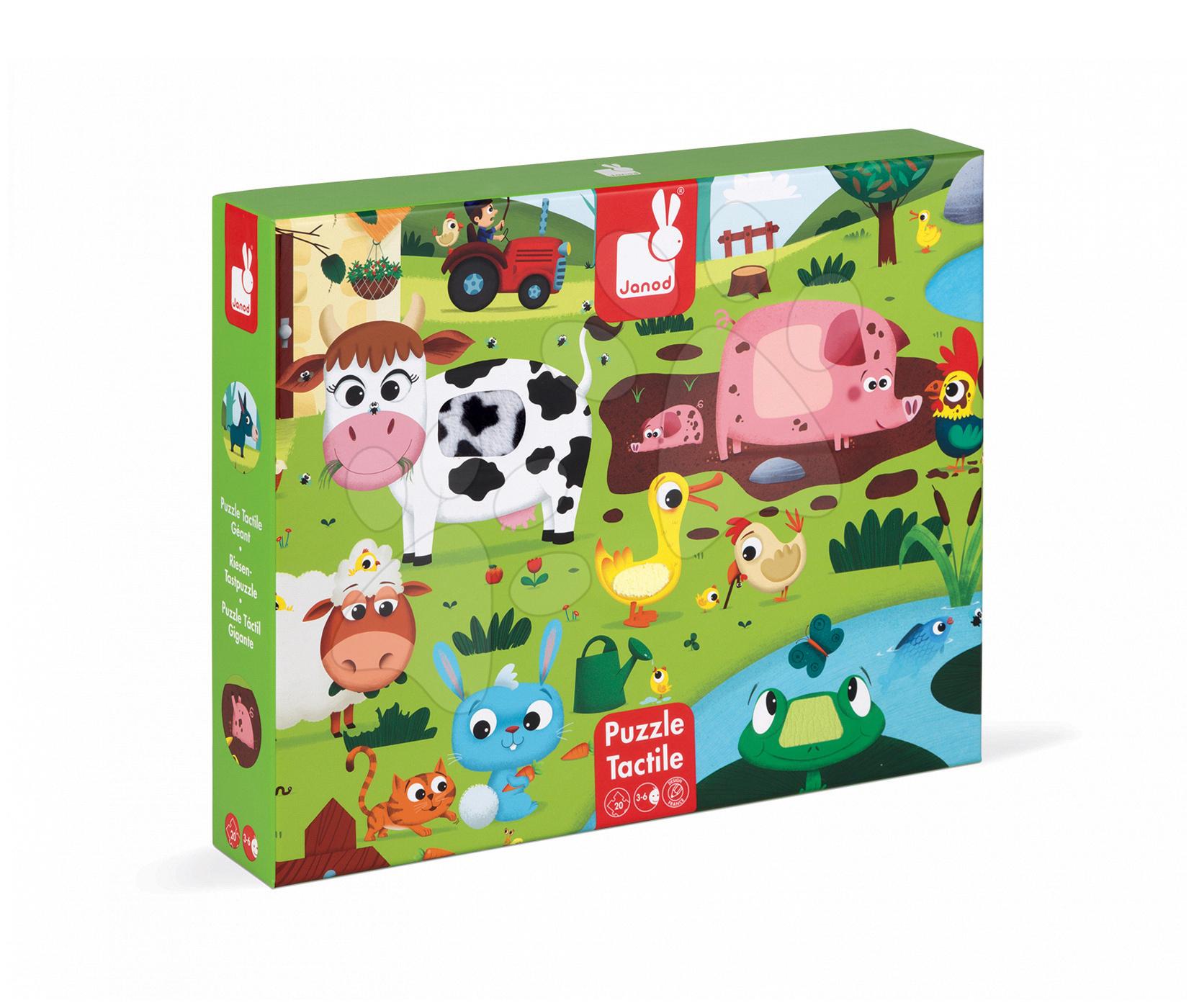 Lepenkové puzzle Tactile - Návštěva zvířátek na farmě Janod s texturou 20 dílů od 3 let